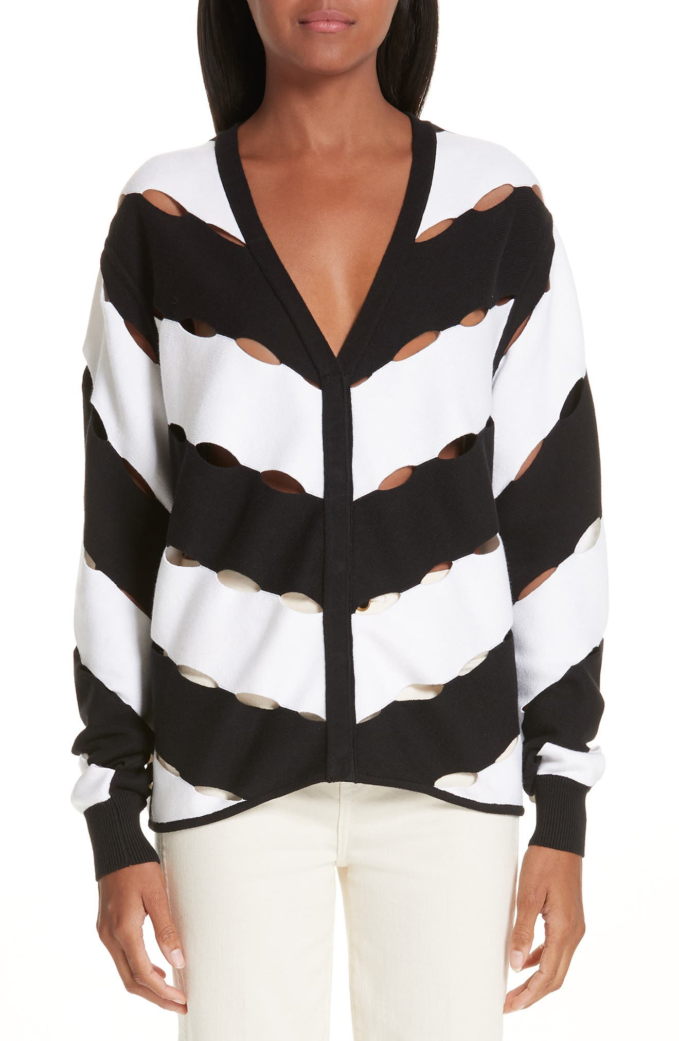 VICTOR GLEMAUD Diagonal Stripe Cardigan in Black And White Combo