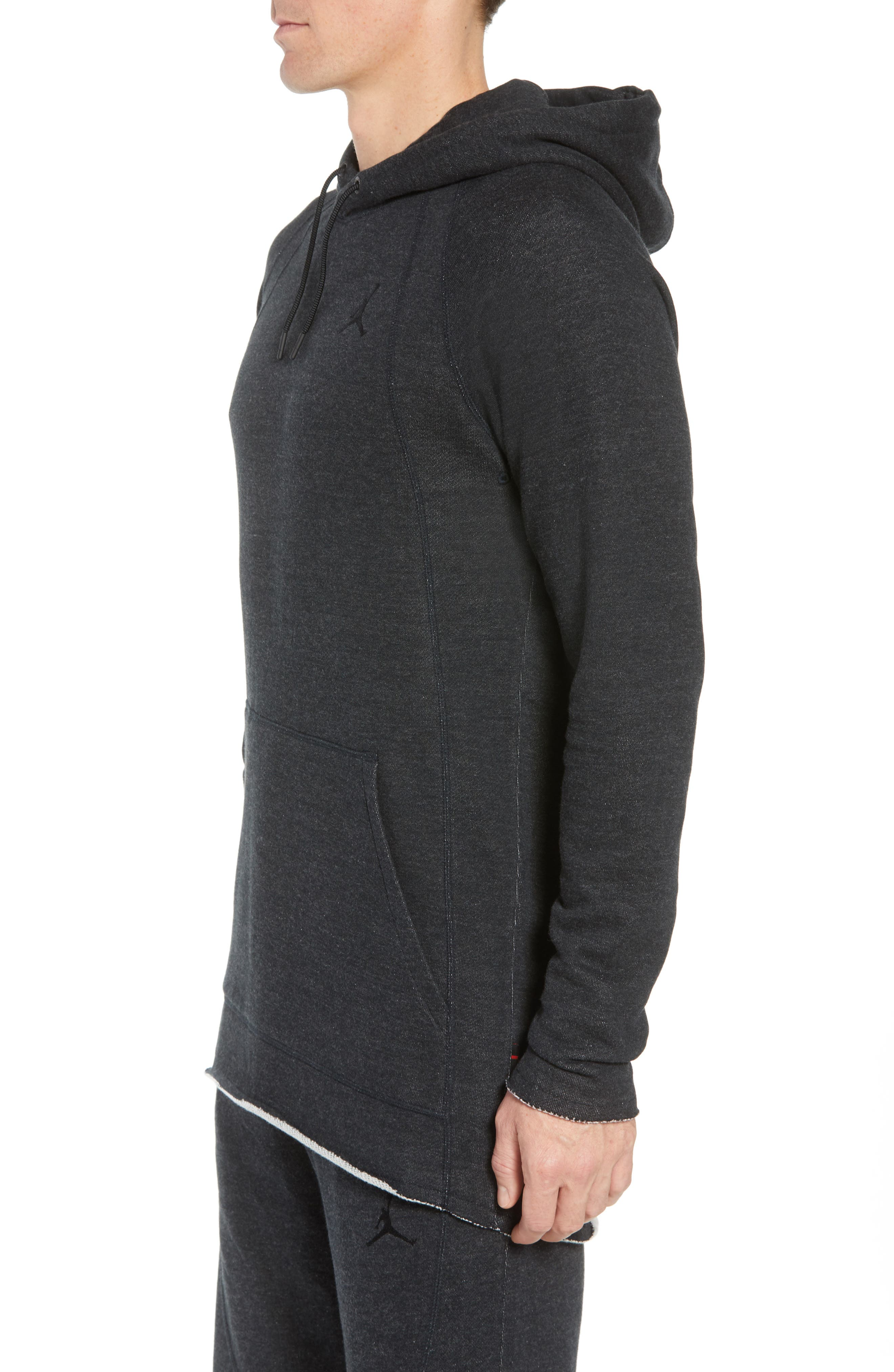 Wings Light French Terry Hoodie,                             Alternate thumbnail 3, color,                             BLACK HEATHER/ BLACK