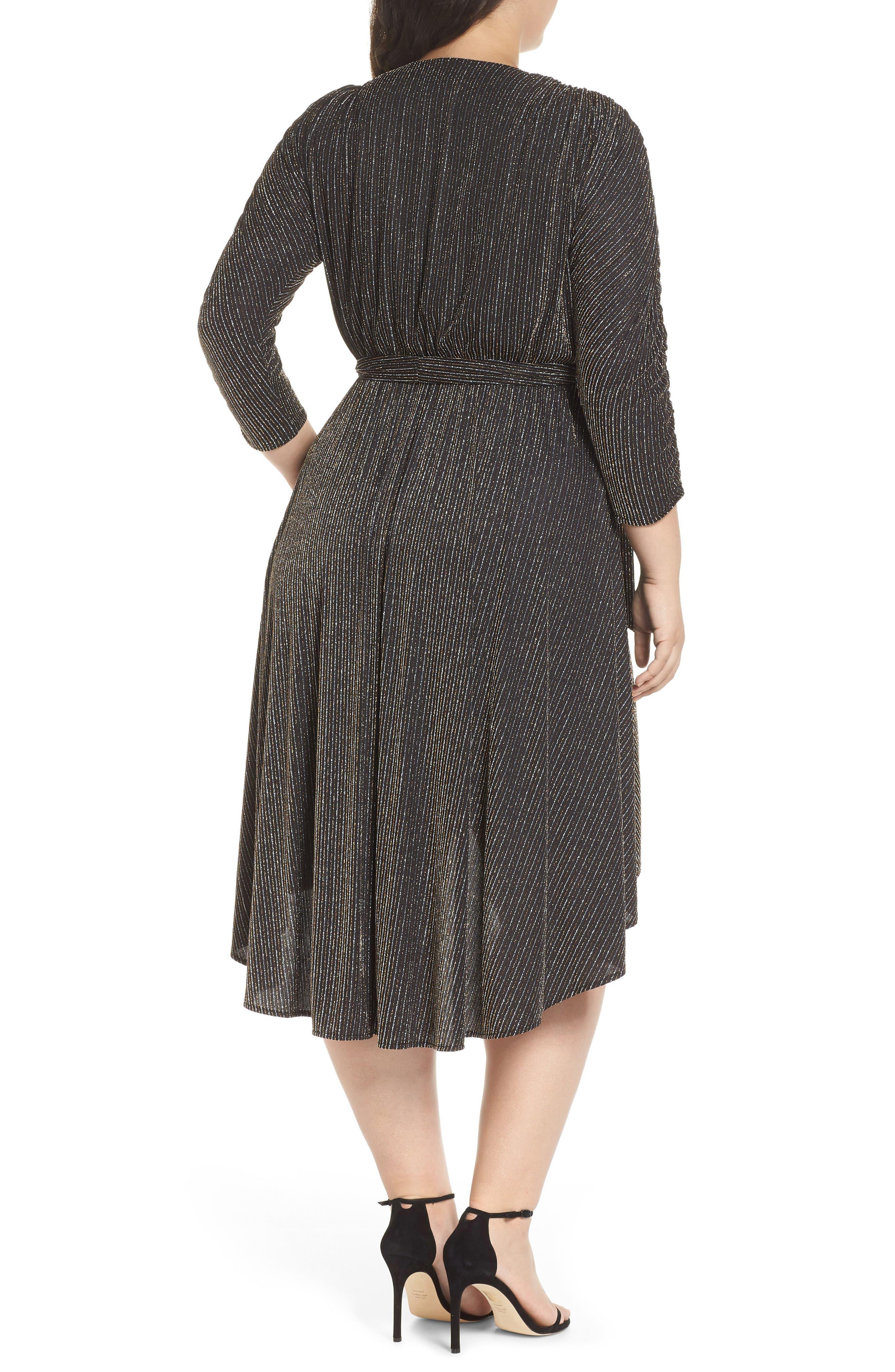 CHELSEA28,                             Metallic Tie Waist Dress,                             Alternate thumbnail 2, color,                             001