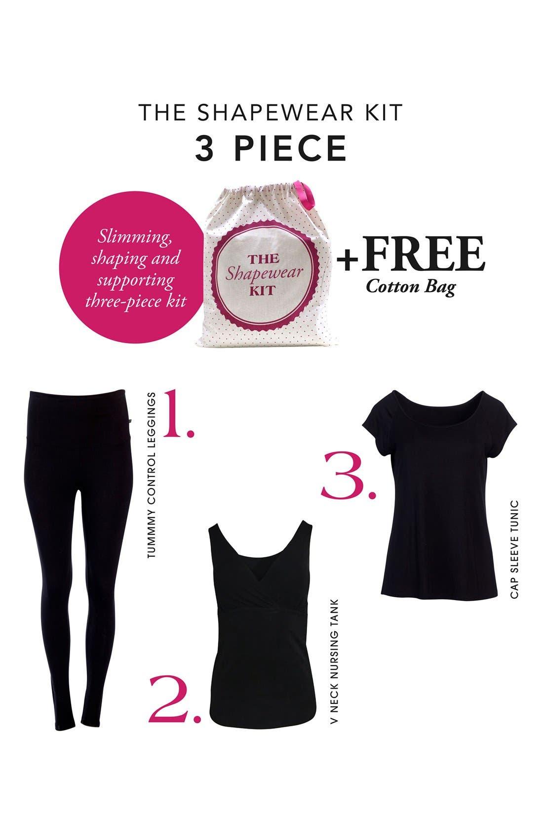 'The Tummy Tight' Postpartum Shapewear Kit,                             Alternate thumbnail 2, color,                             BLACK