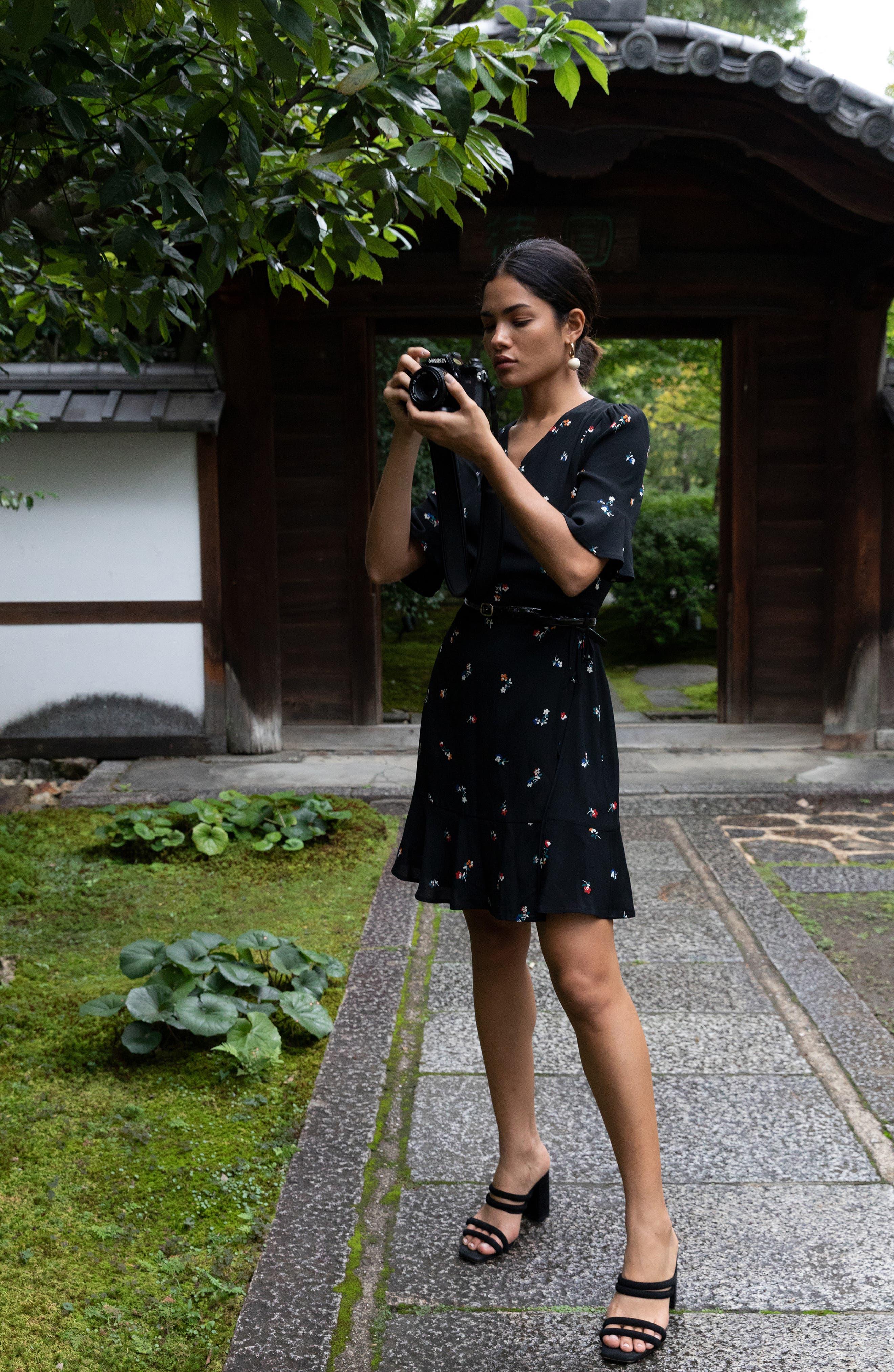 Aimee Ruffle Detail Wrap Dress,                             Alternate thumbnail 9, color,                             BLACK KYOTO FLORAL