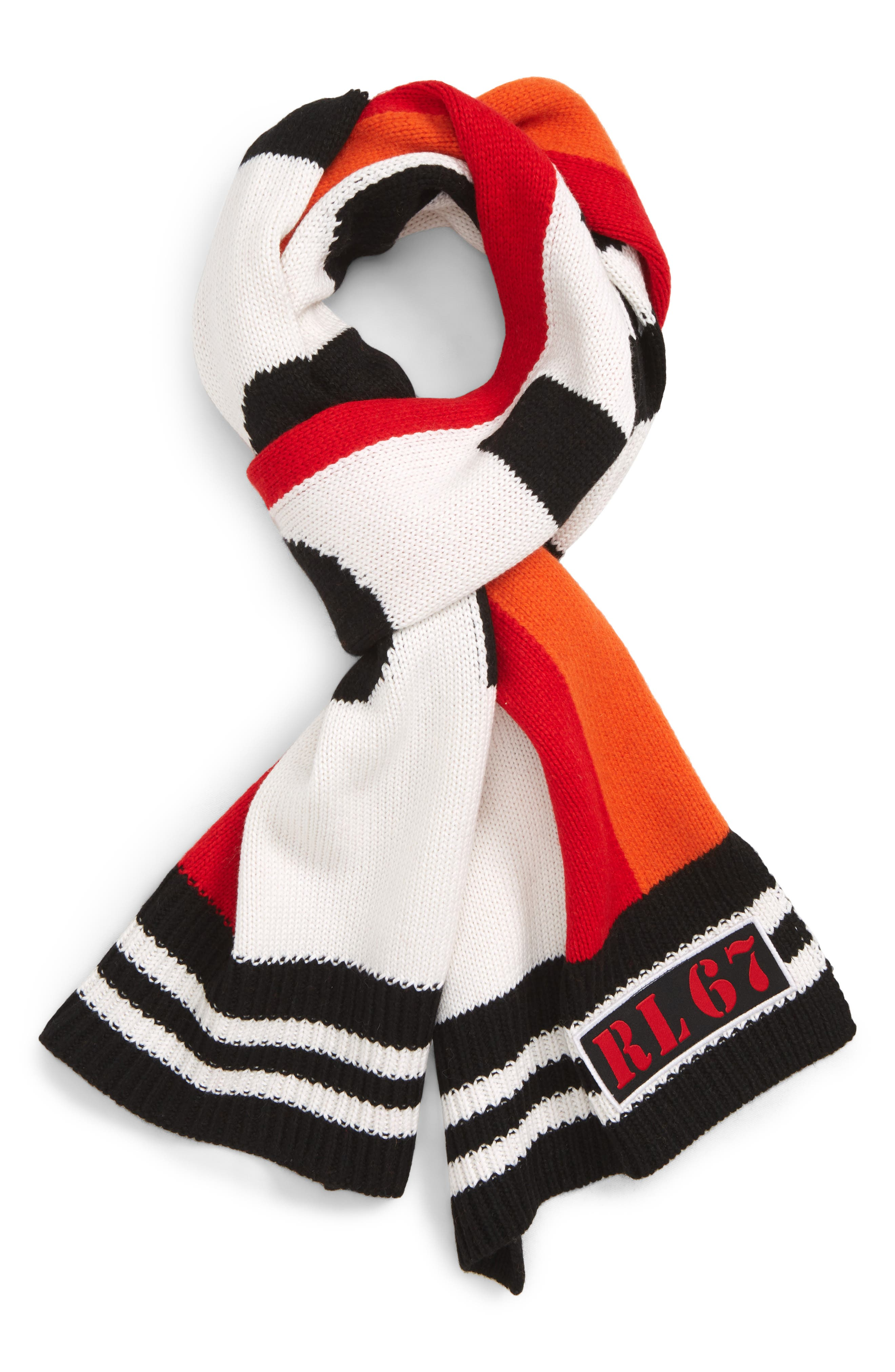 Stadium Scarf,                             Main thumbnail 1, color,                             BLACK/ RED/ CREAM