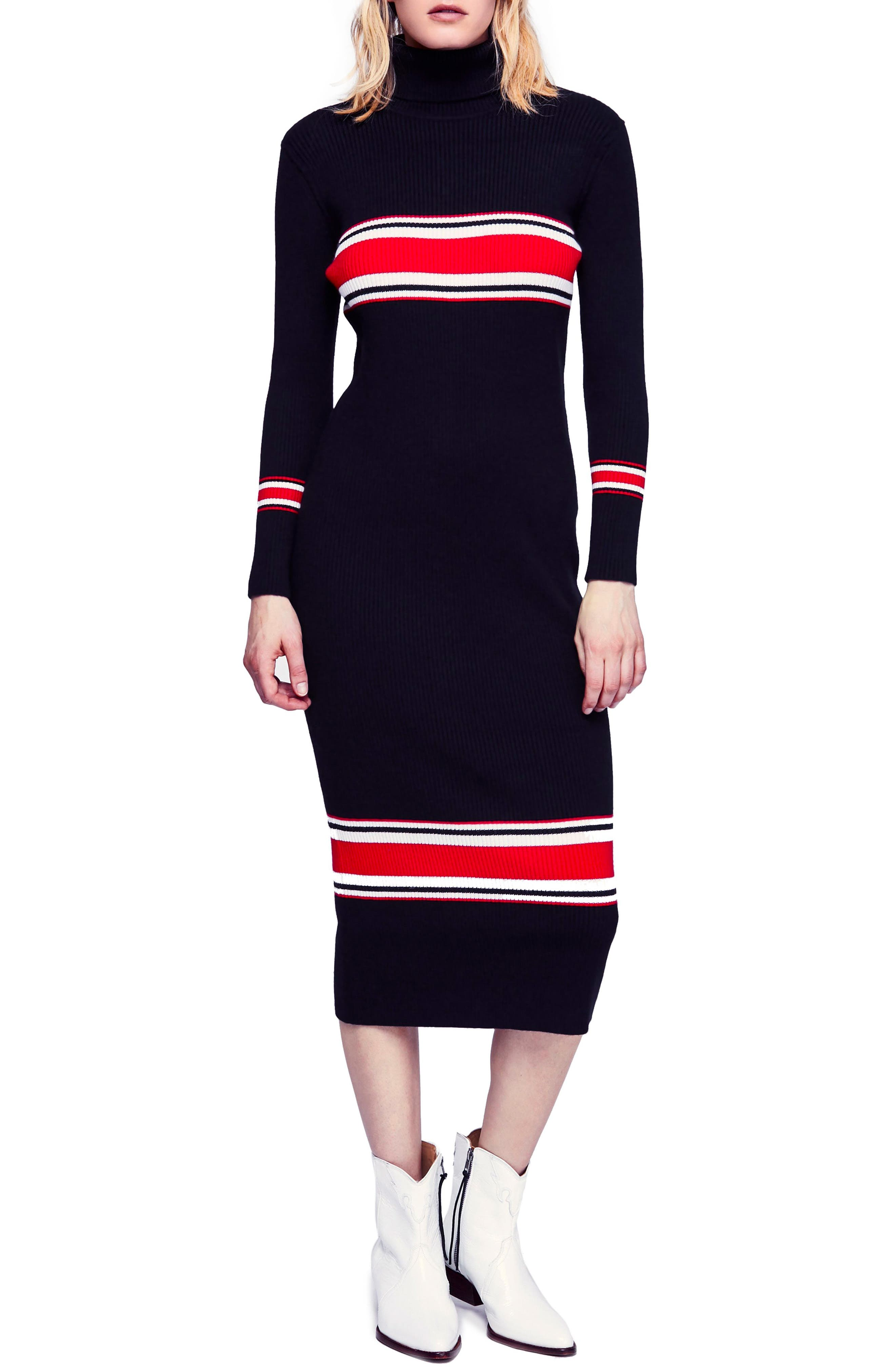 Sport Stripe Midi Sweater Dress,                             Main thumbnail 1, color,                             001