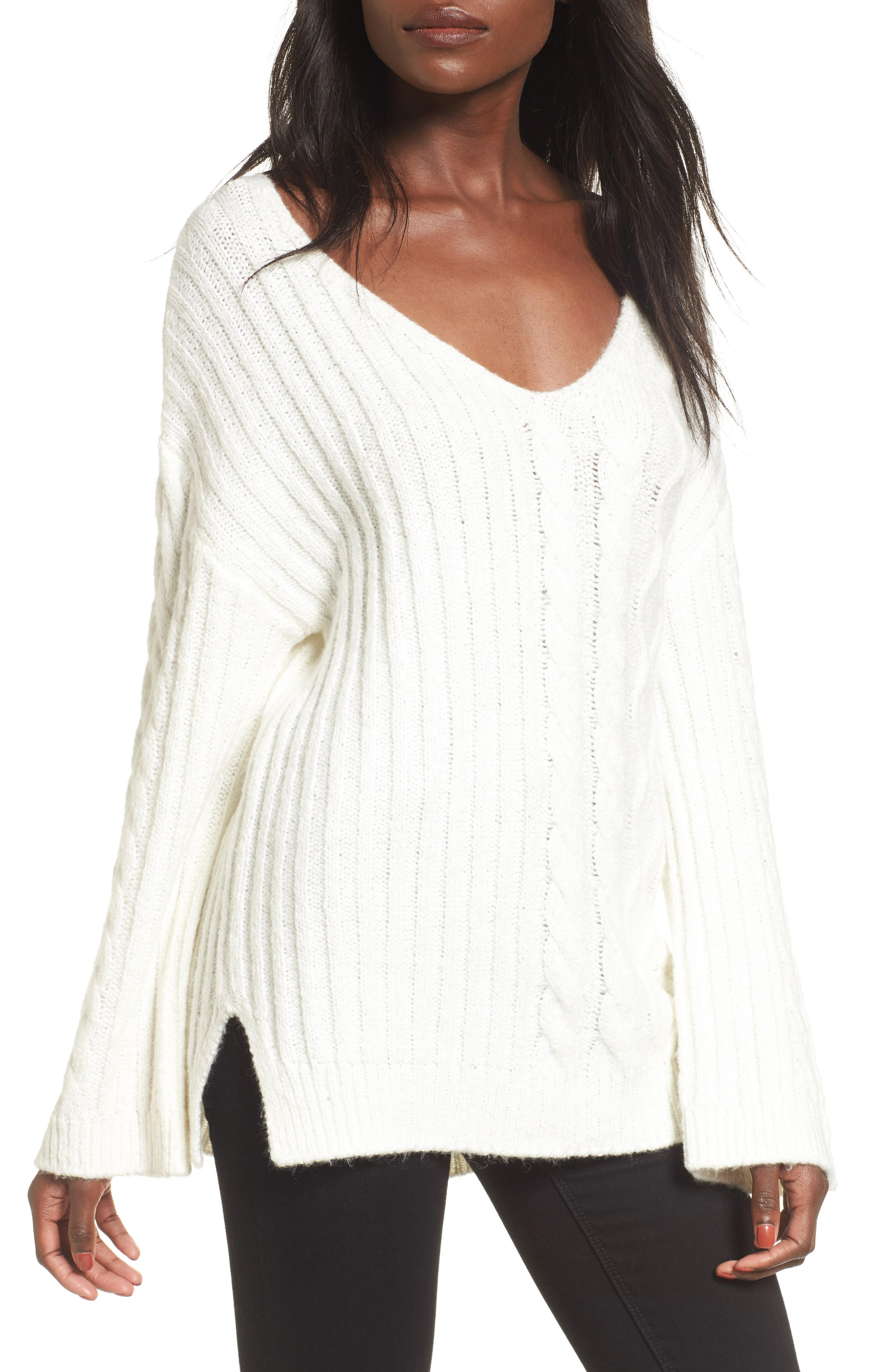 Mix Stitch Cotton Blend Sweater,                             Main thumbnail 2, color,