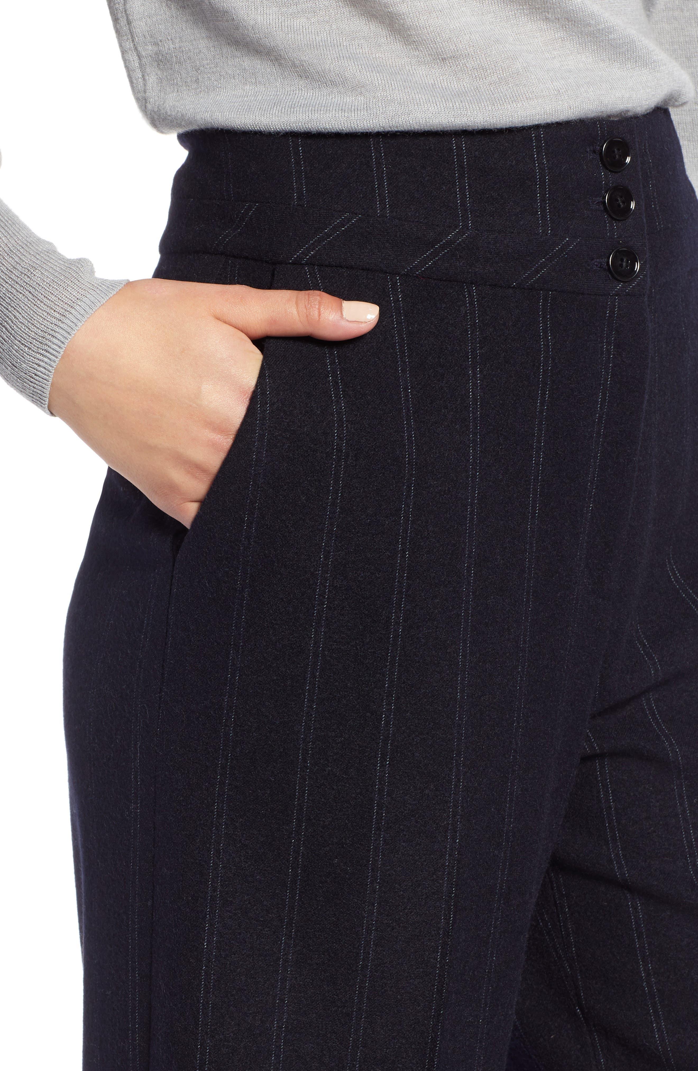 Stripe Wide Leg Crop Suit Pants,                             Alternate thumbnail 4, color,                             410