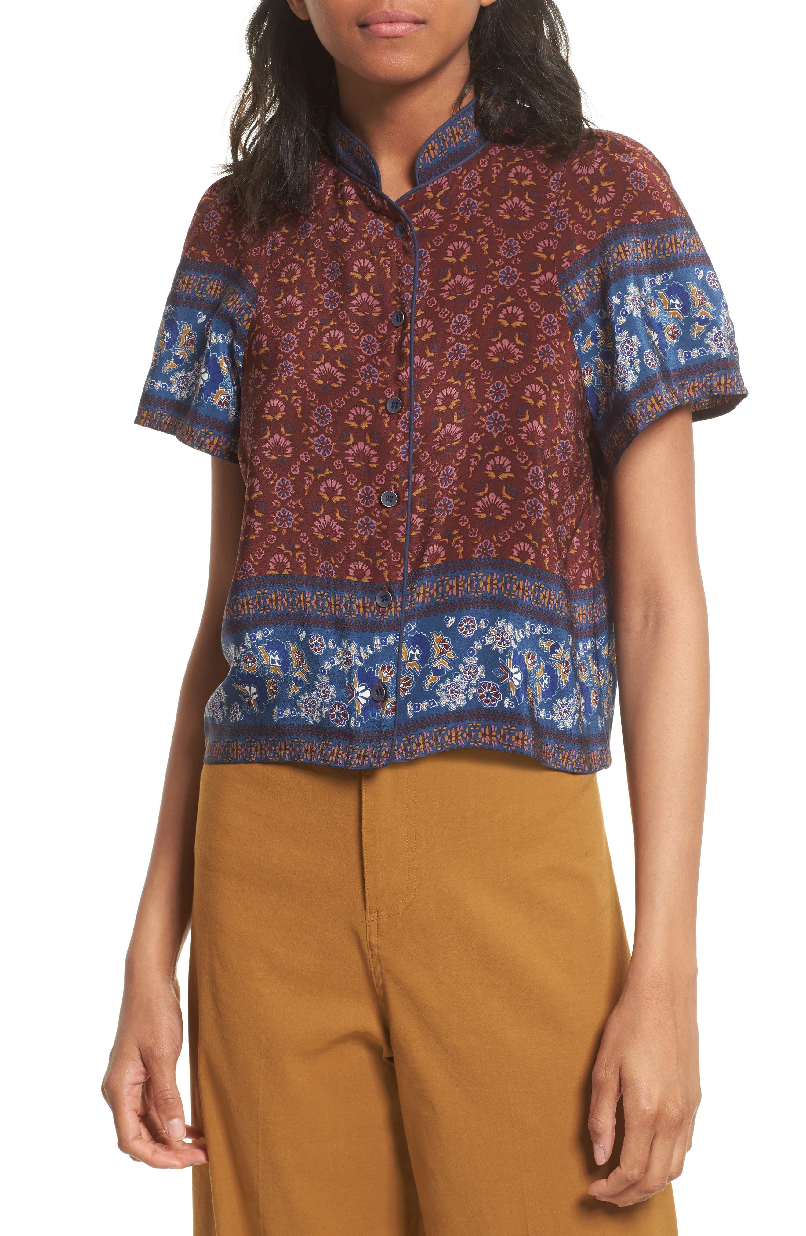 Mandarin Collar Silk Top,                         Main,                         color, 600