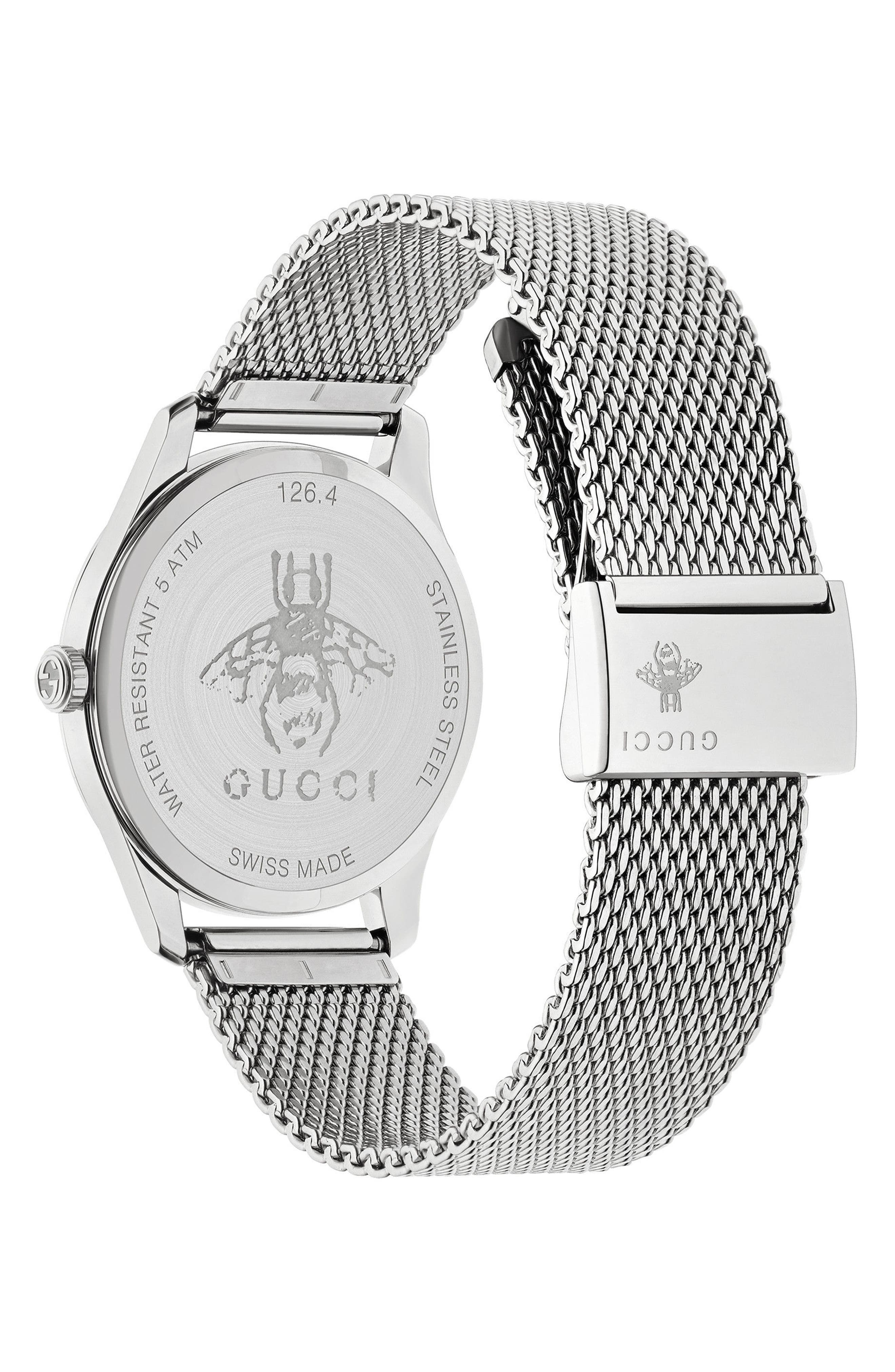 G-Timeless Mesh Bracelet Watch, 36mm,                             Alternate thumbnail 2, color,                             SILVER/ MOP/ SILVER