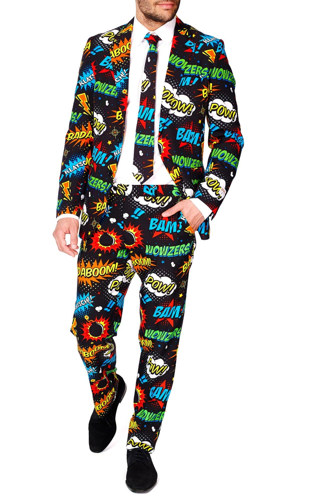 'Badaboom' Trim Fit Two-Piece Suit with Tie,                             Main thumbnail 1, color,                             001