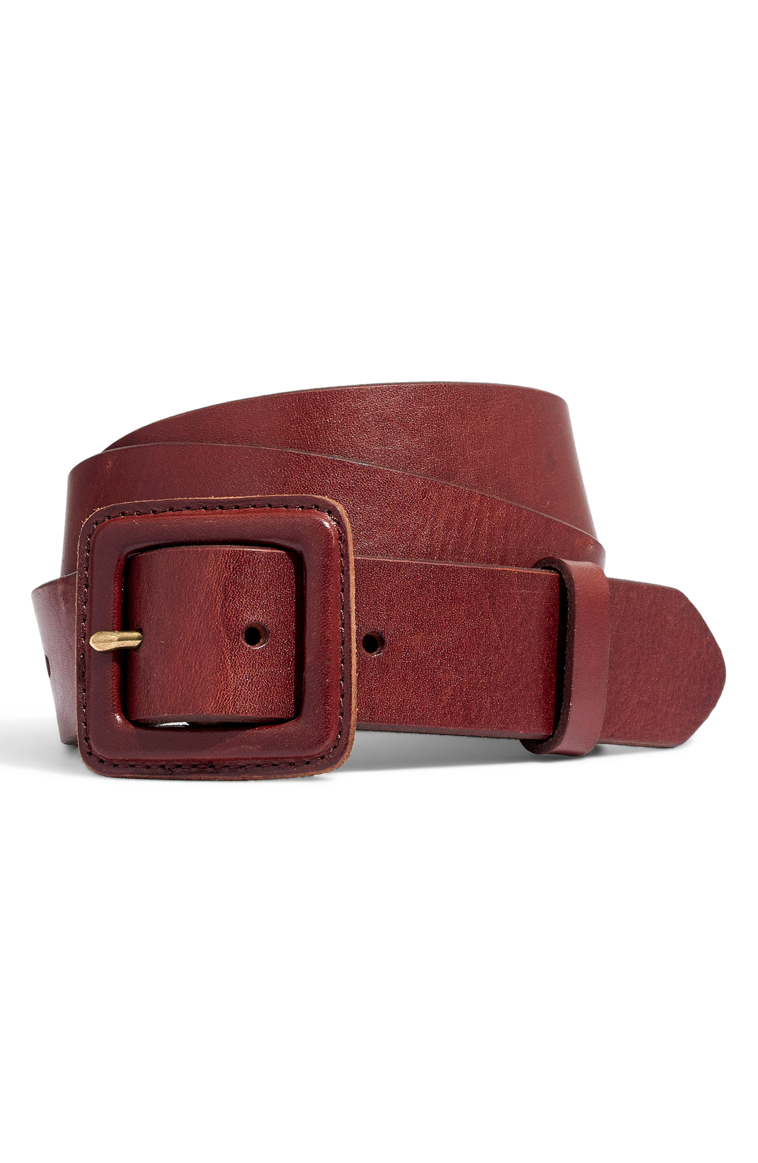 Leather Covered Buckle Belt,                         Main,                         color, RICH BROWN