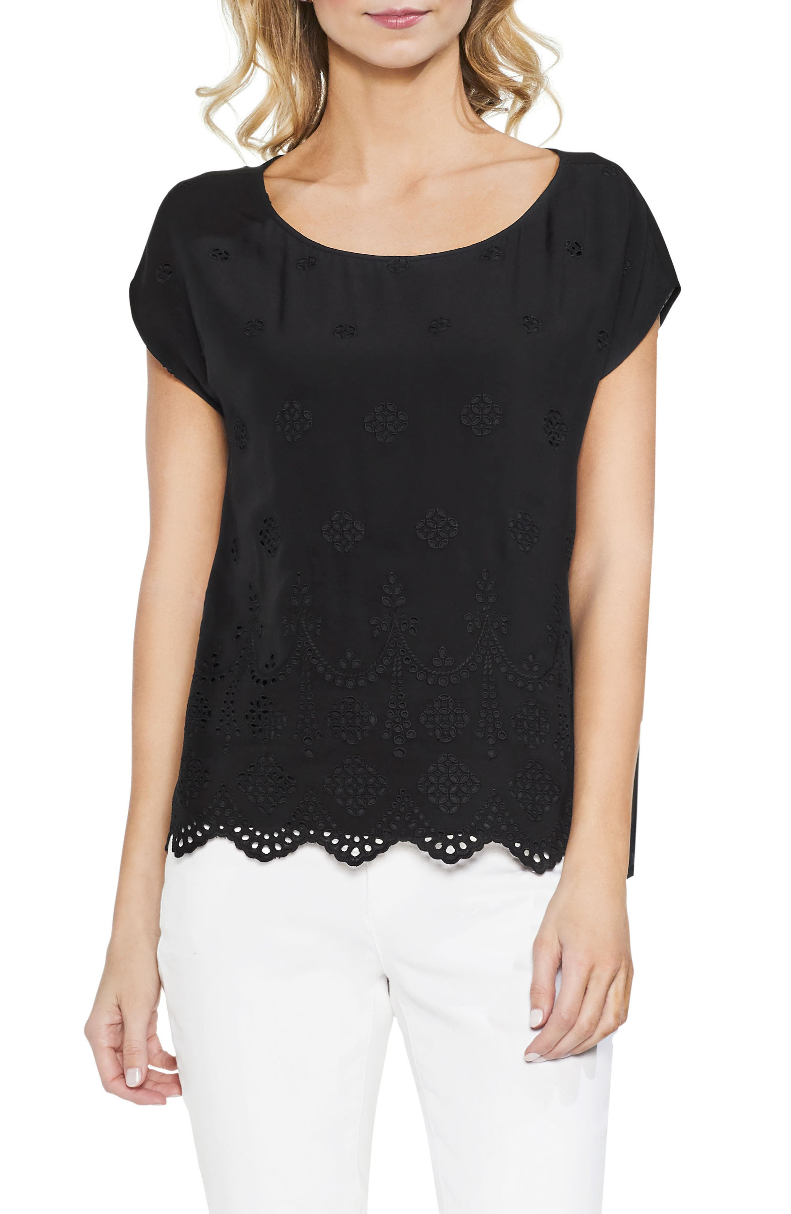 VINCE CAMUTO Scalloped Eyelet Top, Main, color, 001