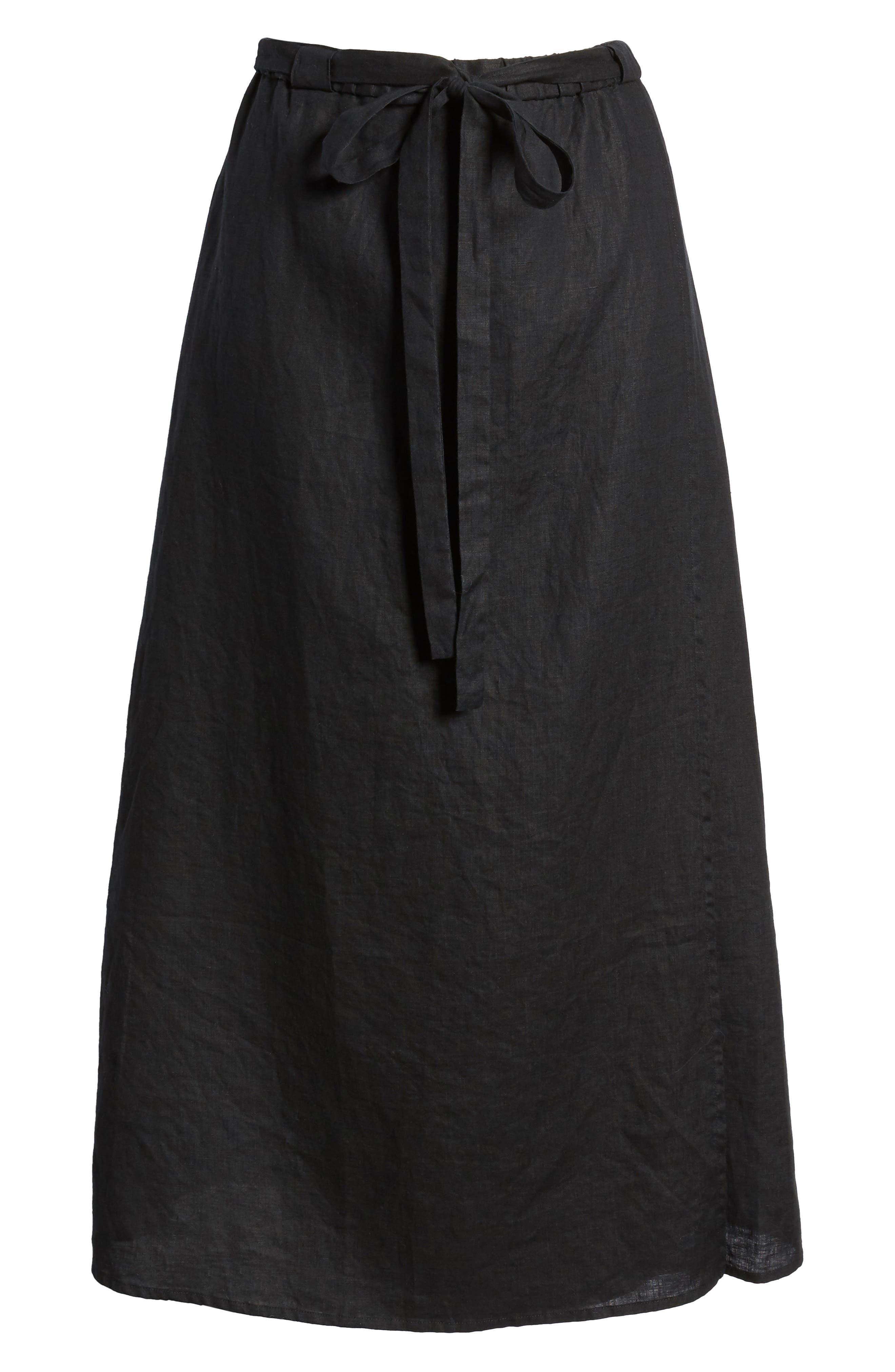 Faux Wrap Organic Linen Skirt,                             Alternate thumbnail 6, color,                             001