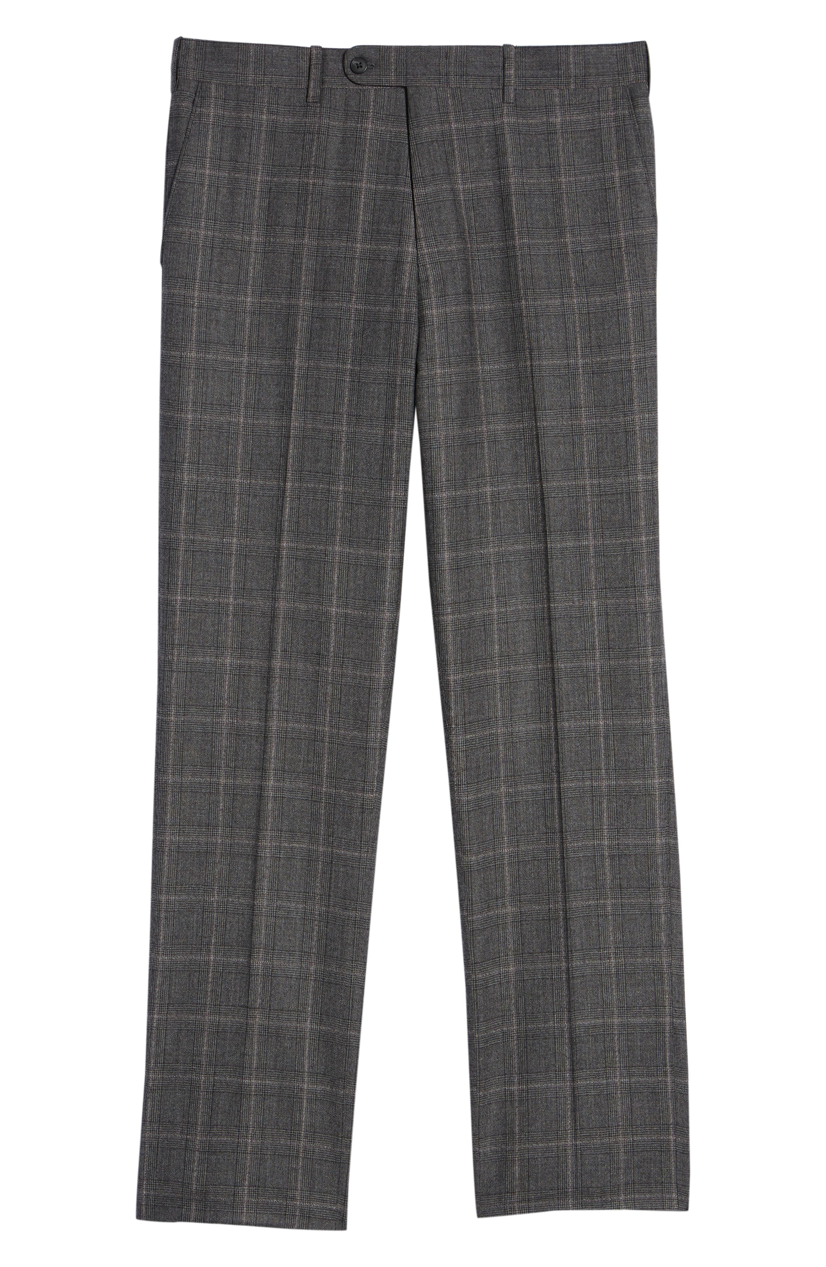 Torino Traditional Fit Flat Front Plaid Wool & Cashmere Trousers,                             Alternate thumbnail 6, color,                             GREY