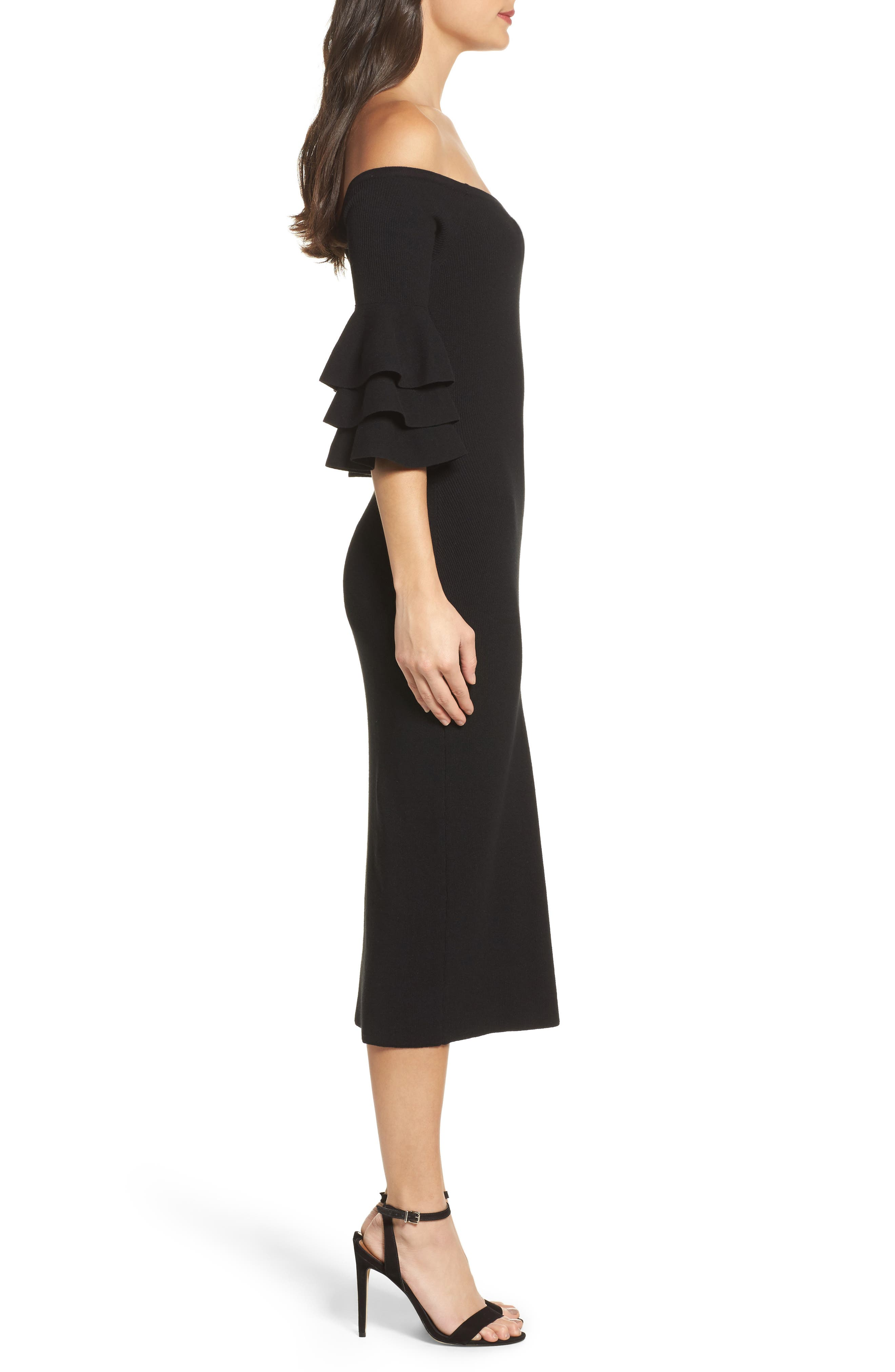 Off the Shoulder Midi Sweater Dress,                             Alternate thumbnail 3, color,                             001