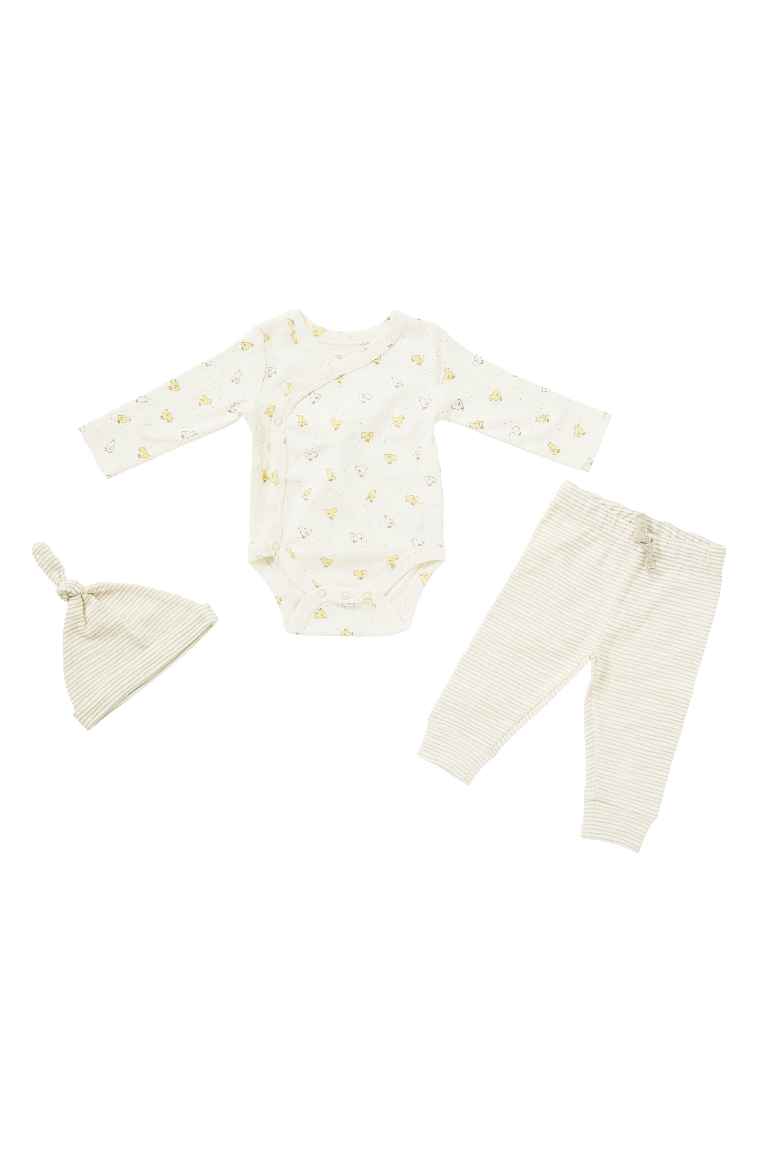 Baby Chick Bodysuit, Pants & Hat Set,                         Main,                         color, 900