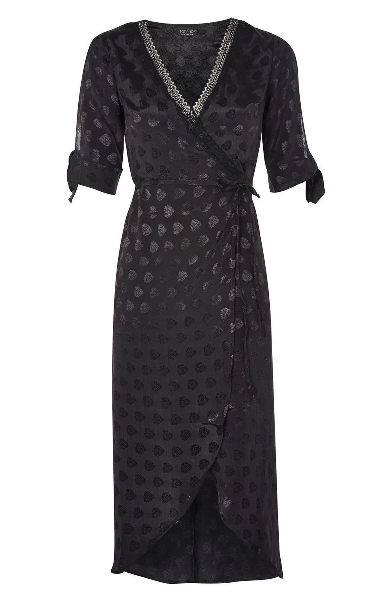 Jacquard Wrap Midi Dress,                             Alternate thumbnail 4, color,                             001