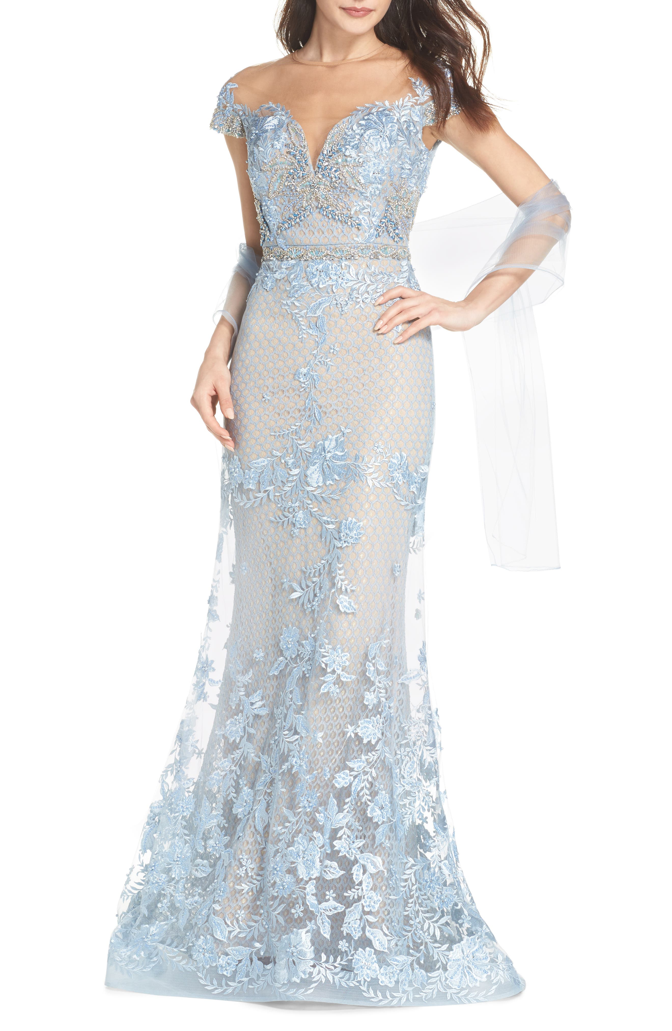Beaded Lace Trumpet Gown,                             Main thumbnail 1, color,                             POWDER BLUE