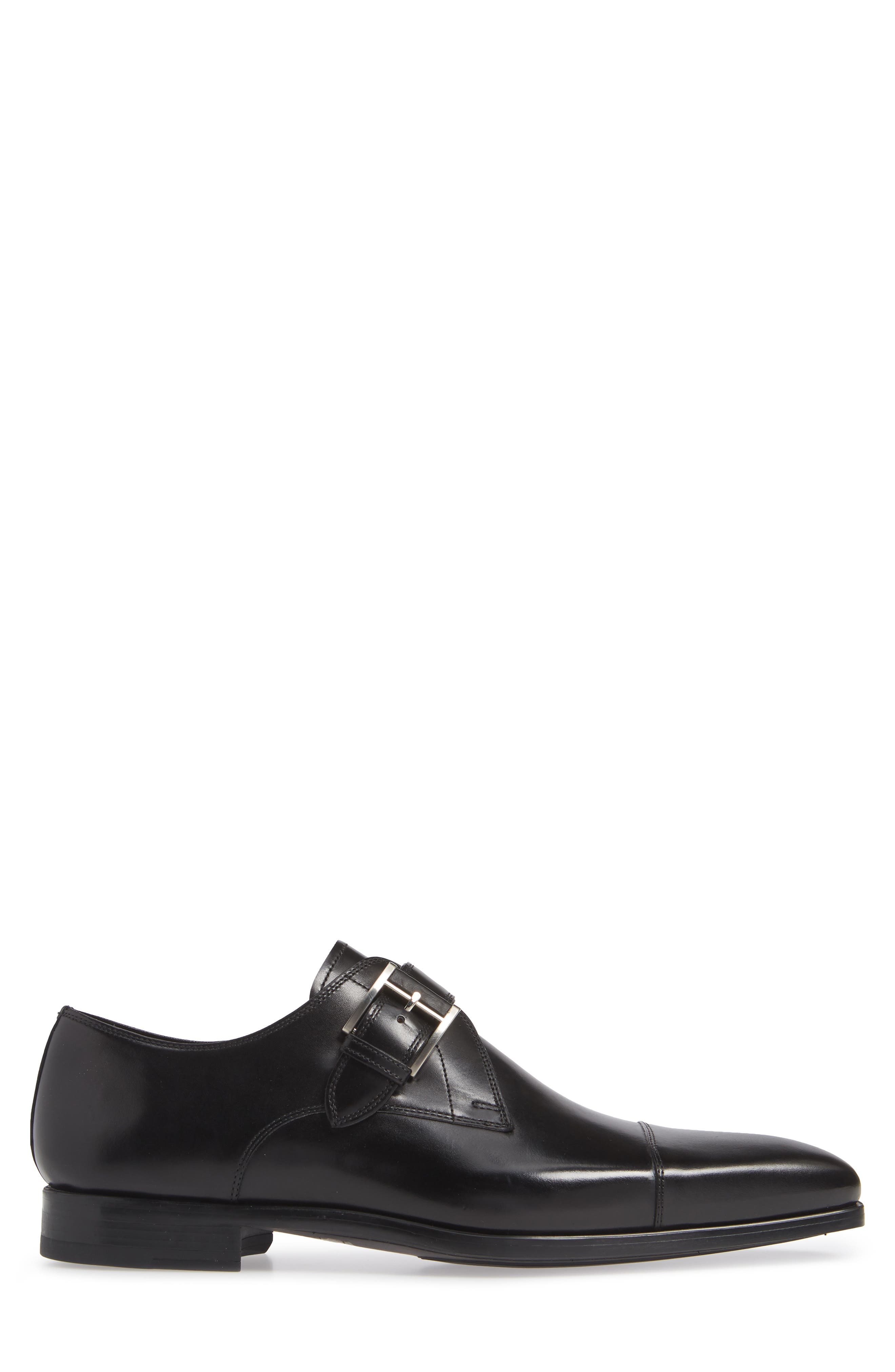 Patricio Monk Strap Shoe,                             Alternate thumbnail 3, color,                             BLACK LEATHER