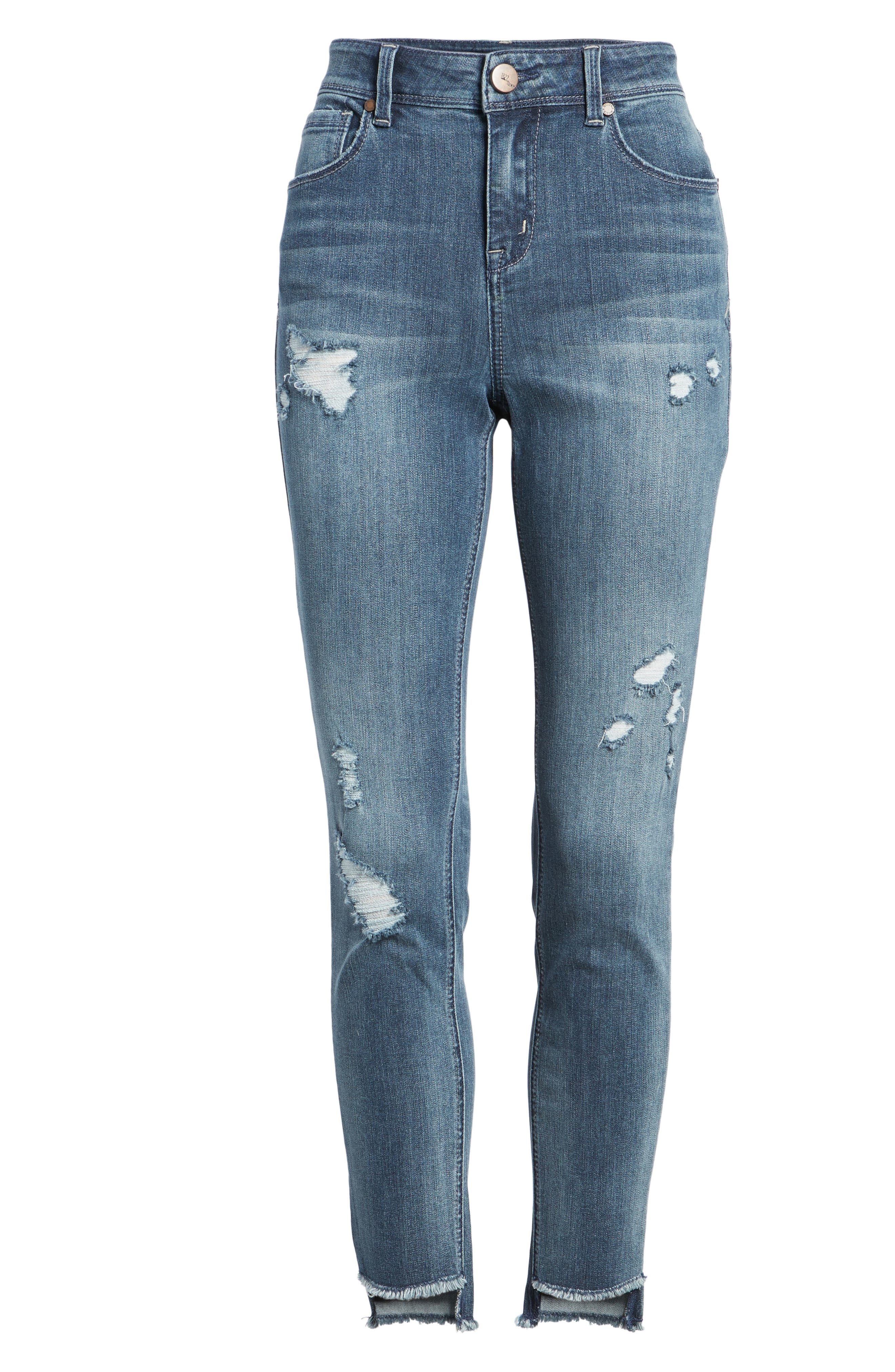 Ripped Step Hem Skinny Jeans,                             Alternate thumbnail 7, color,                             404
