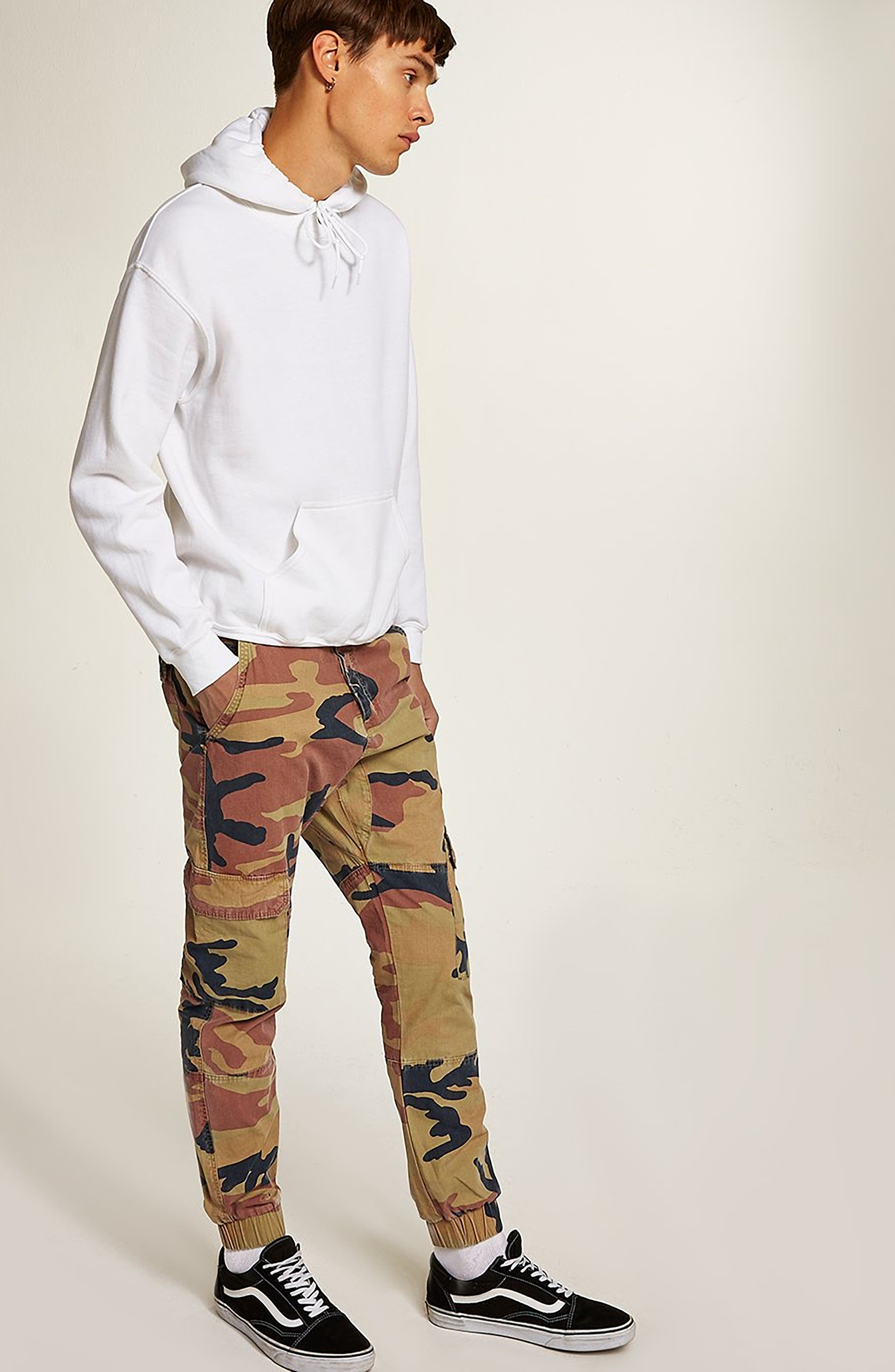 Camouflage Skinny Cargo Trousers,                             Alternate thumbnail 5, color,                             STONE