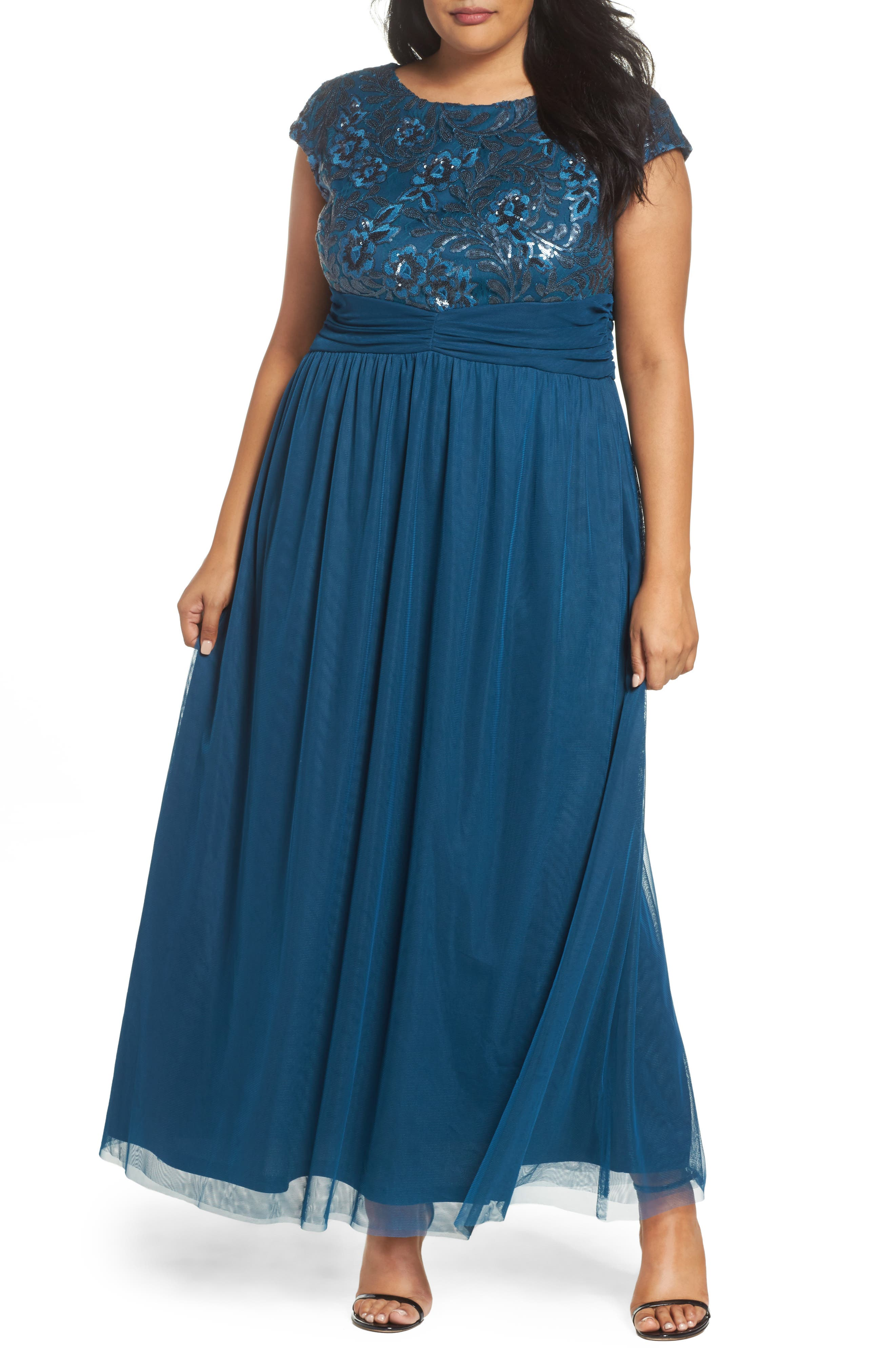 Embellished Cap Sleeve Gown,                         Main,                         color, TEAL