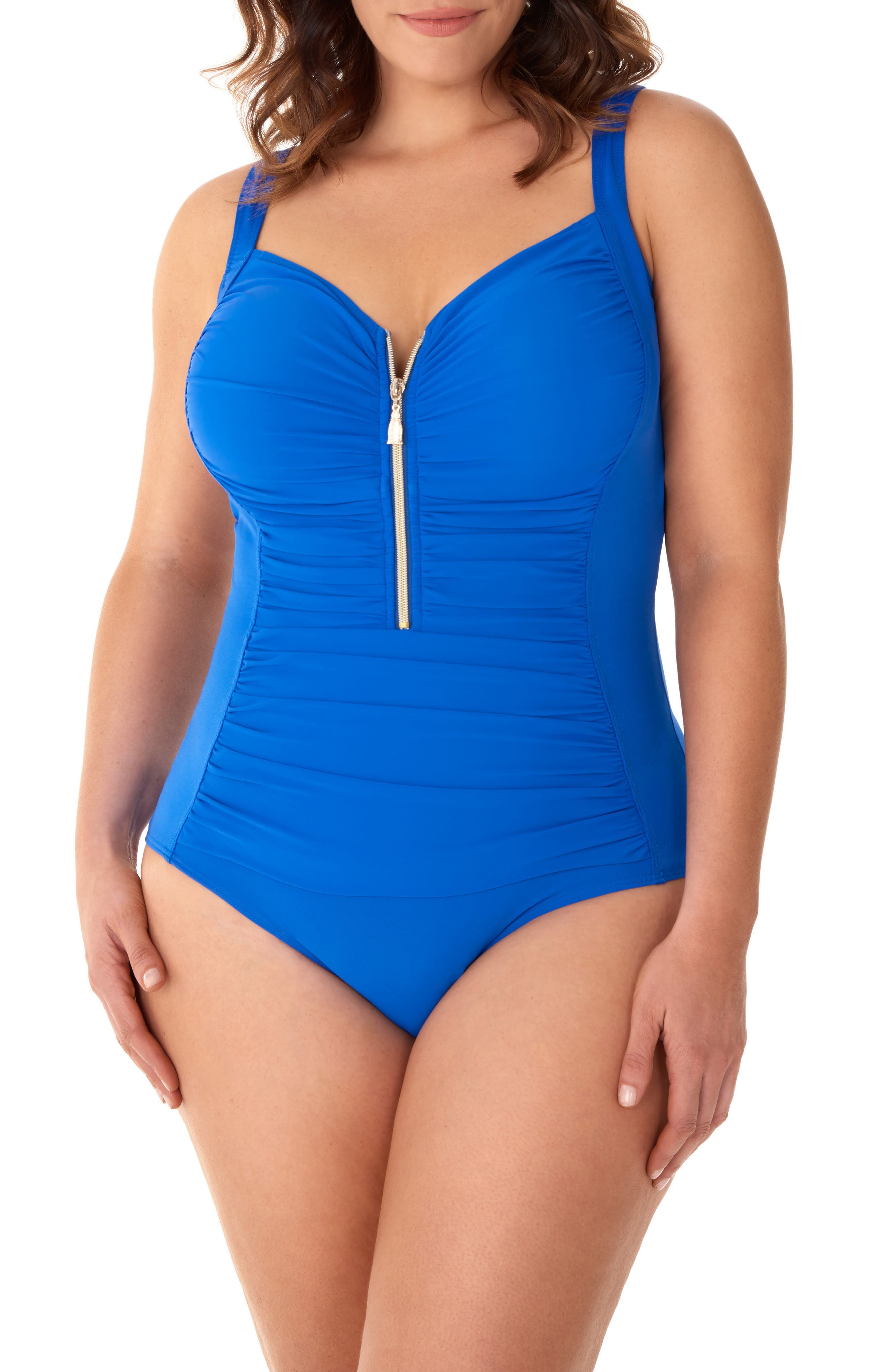 Plus Size Miraclesuit Solid Zip Code One-Piece Swimsuit, Blue