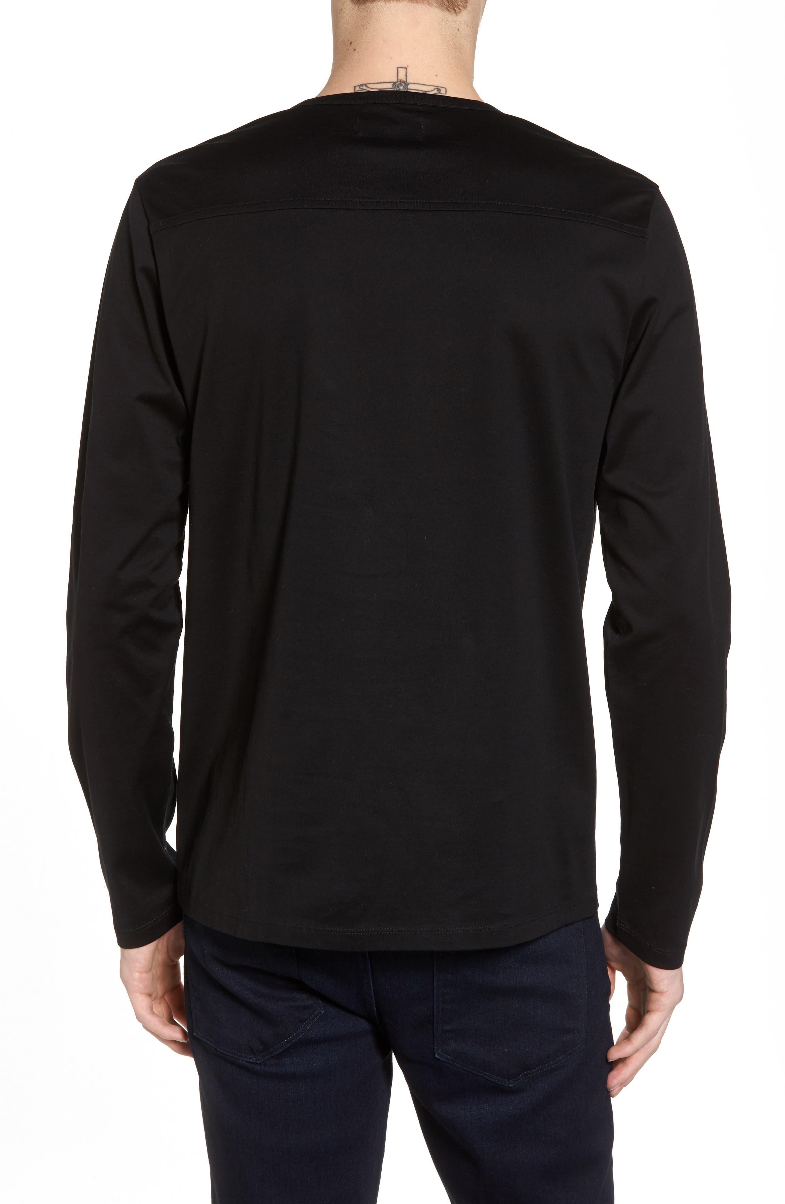 Mercerized Cotton Crewneck Long Sleeve T-Shirt,                             Alternate thumbnail 2, color,                             001