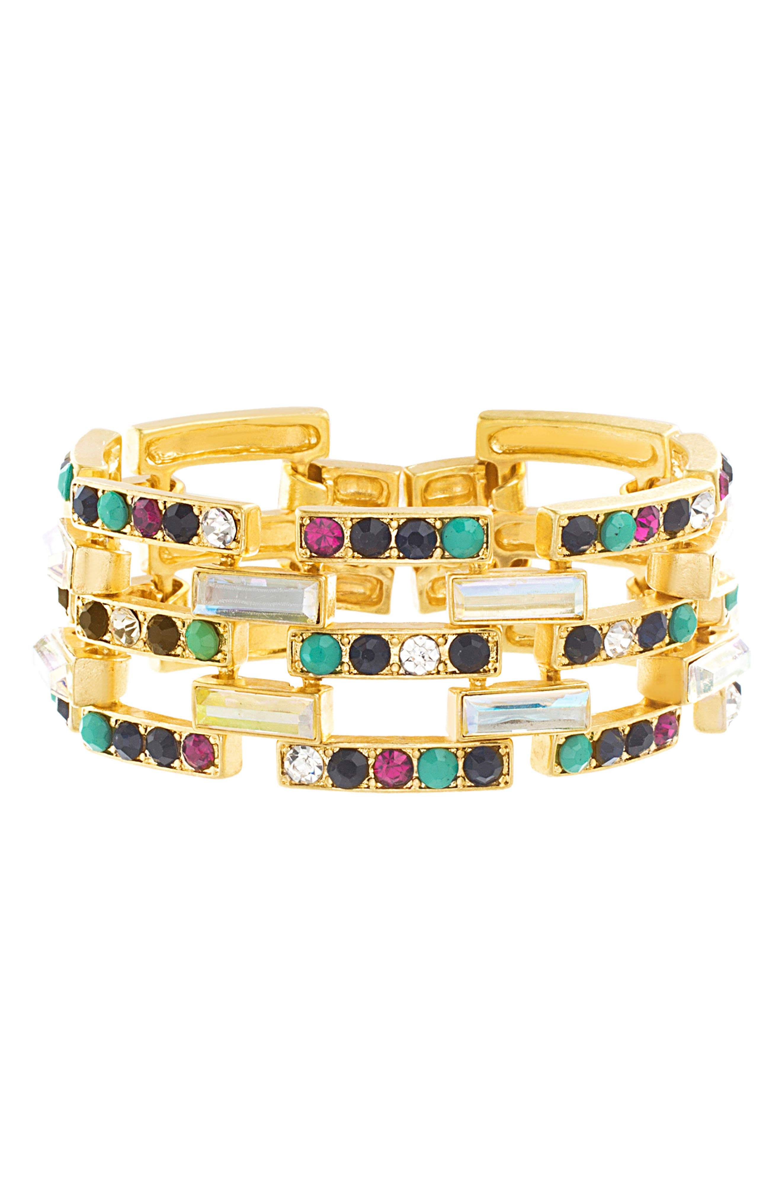 Stone Casted Link Bracelet,                             Main thumbnail 1, color,                             GOLD/ MULTI