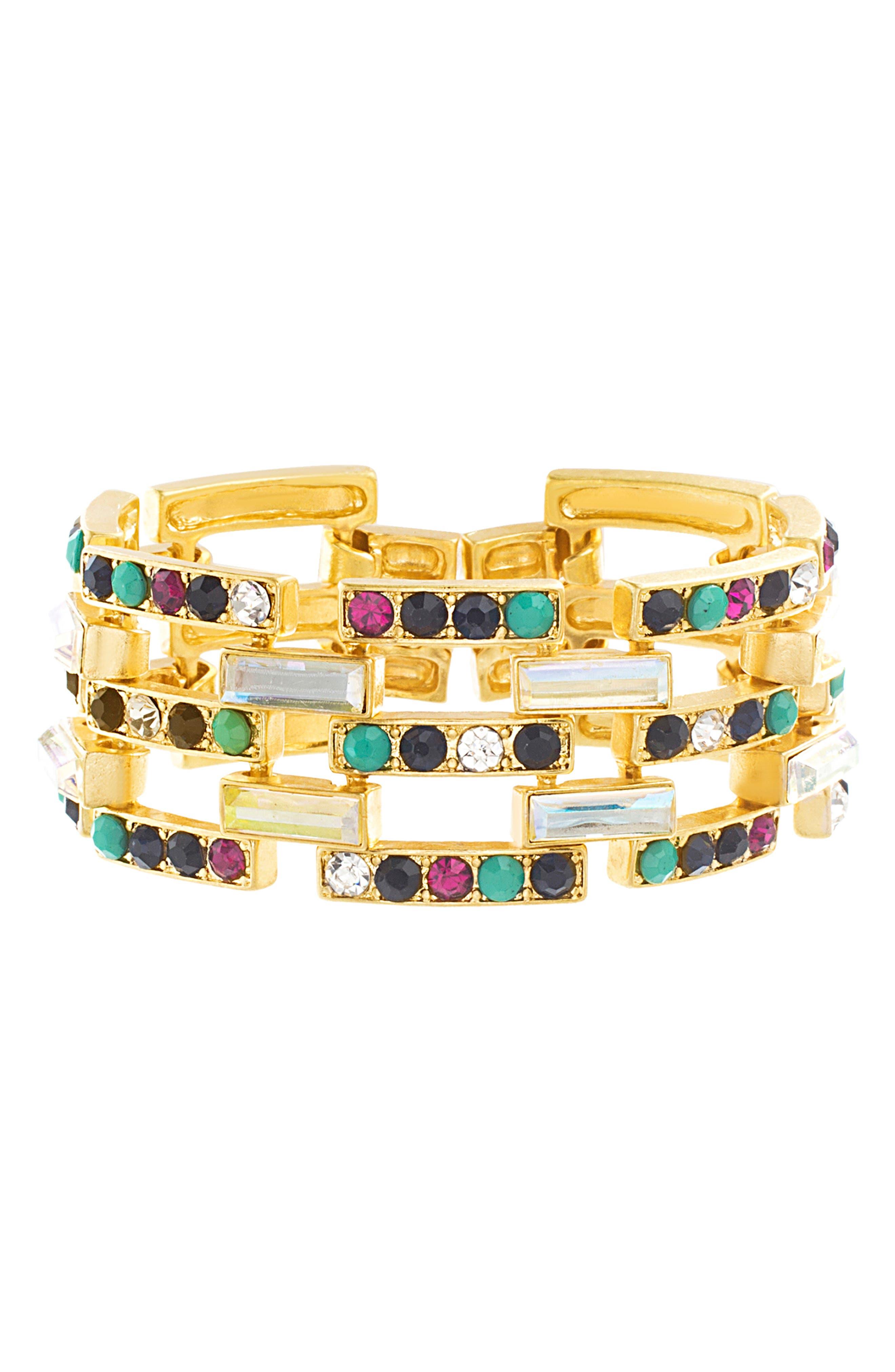 Stone Casted Link Bracelet,                         Main,                         color, GOLD/ MULTI
