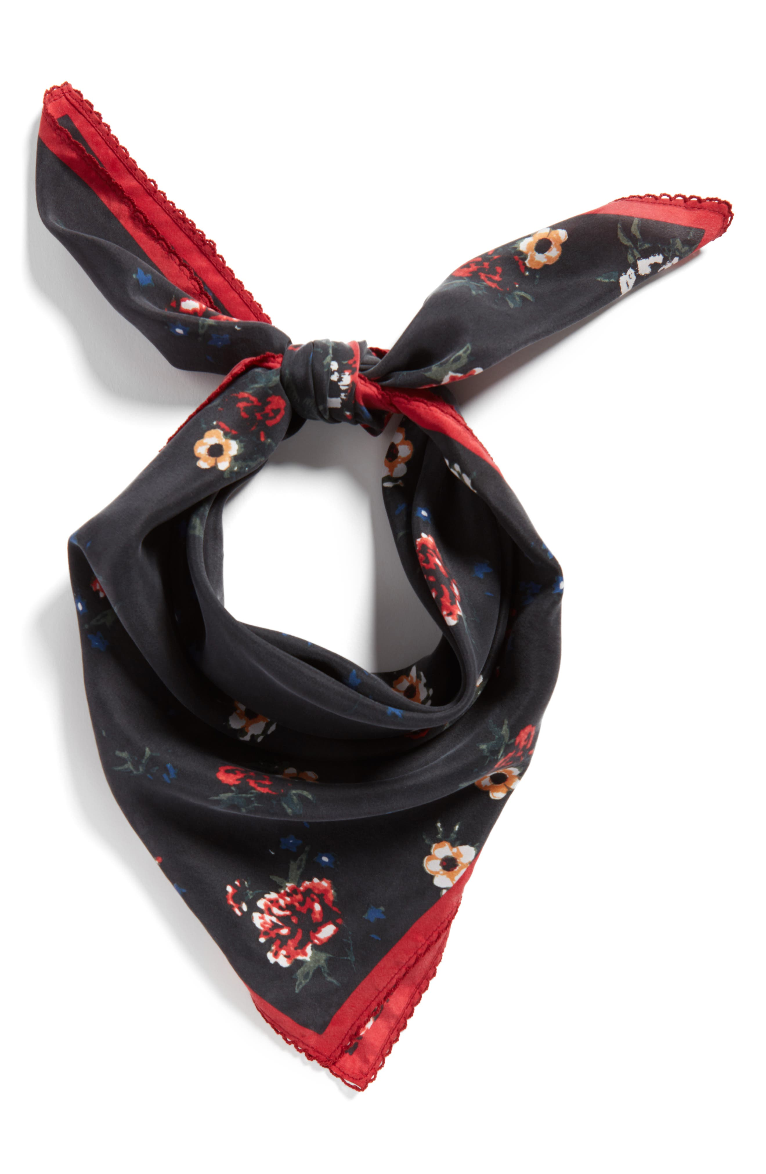 x Something Navy Floral Bouquet Silk Square Scarf,                             Alternate thumbnail 2, color,                             001