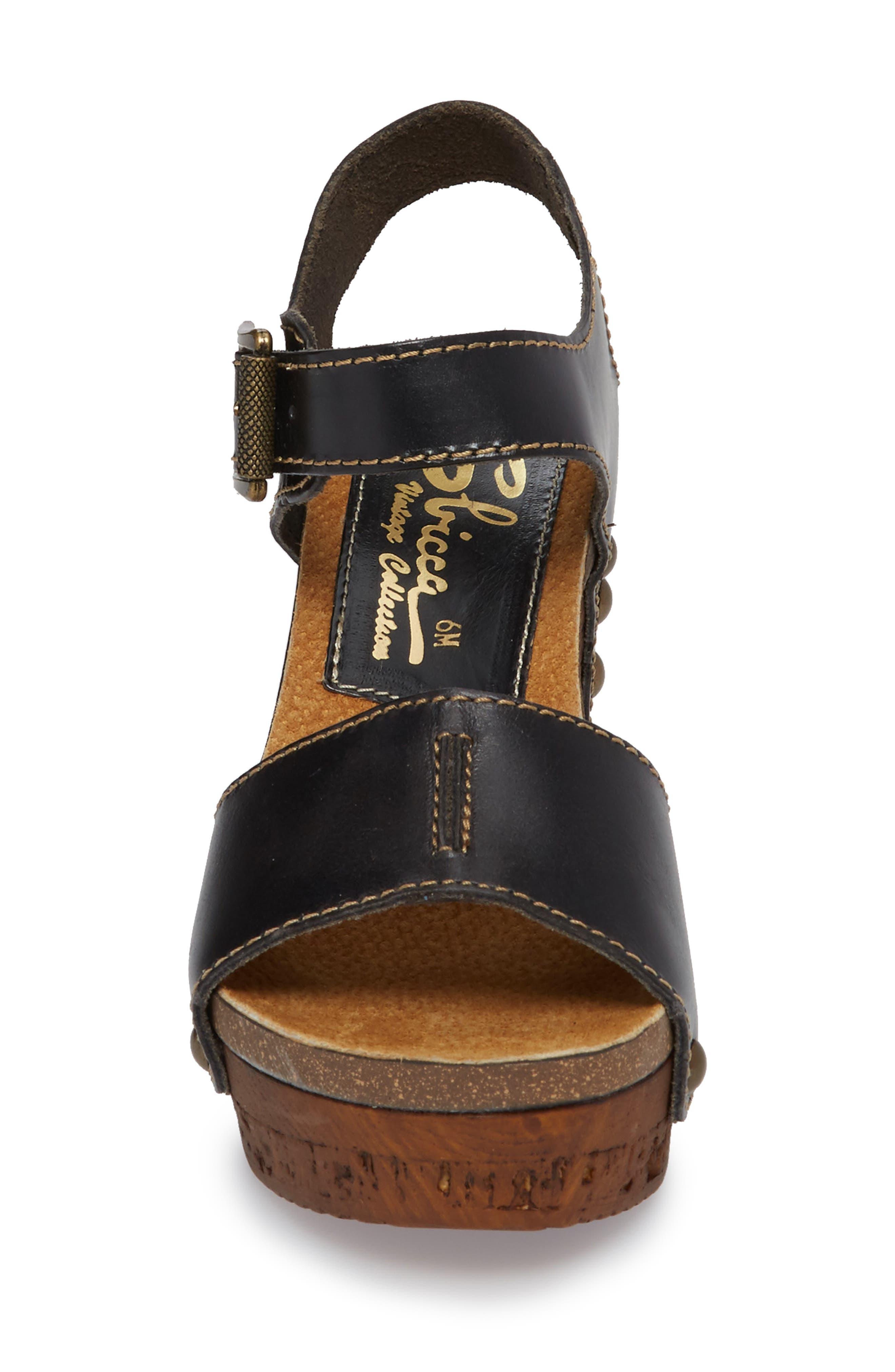 Brella Studded Platform Wedge Sandal,                             Alternate thumbnail 4, color,                             BLACK