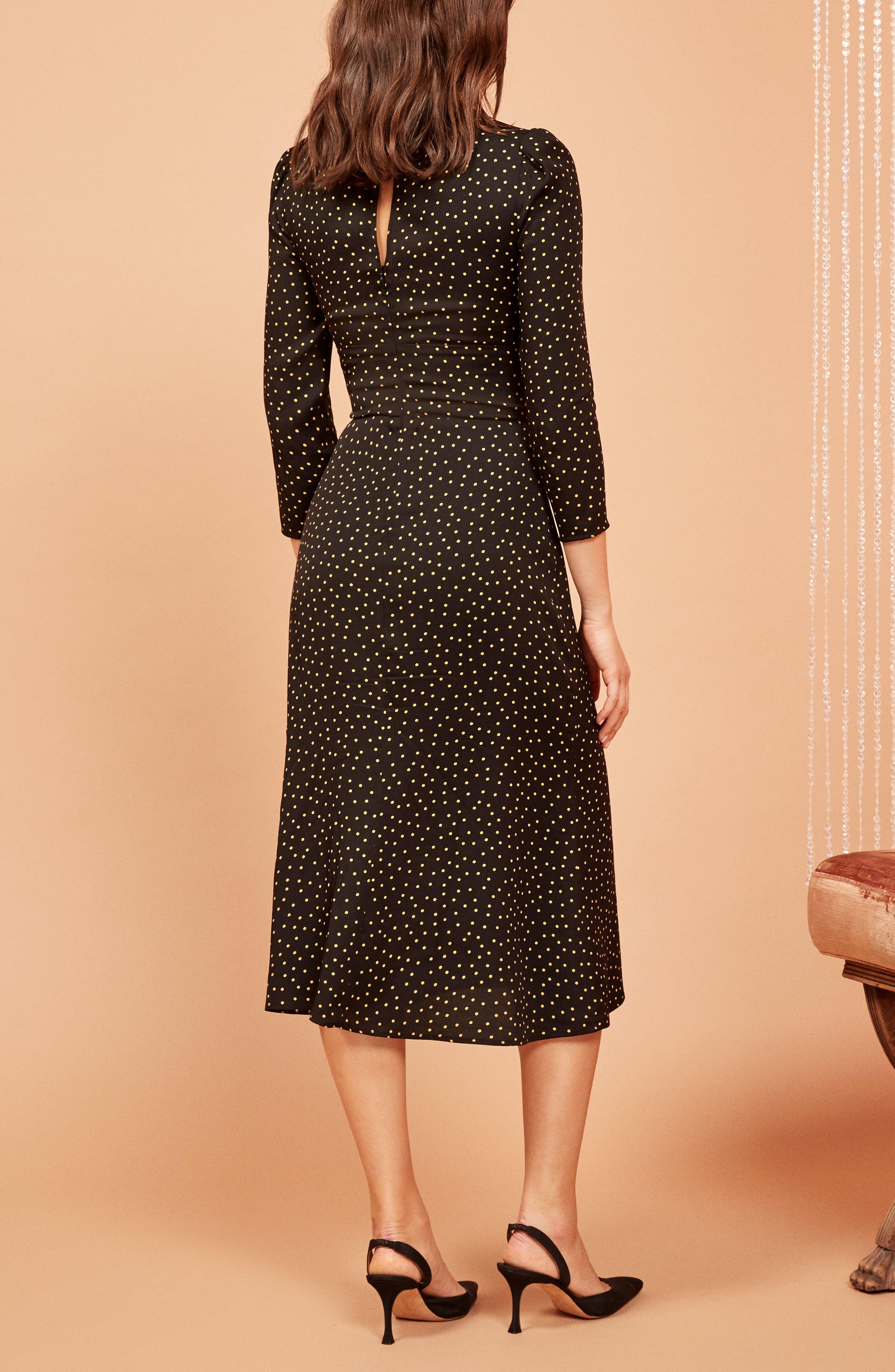 REFORMATION,                             Mabel Plunge Midi Dress,                             Alternate thumbnail 3, color,                             002
