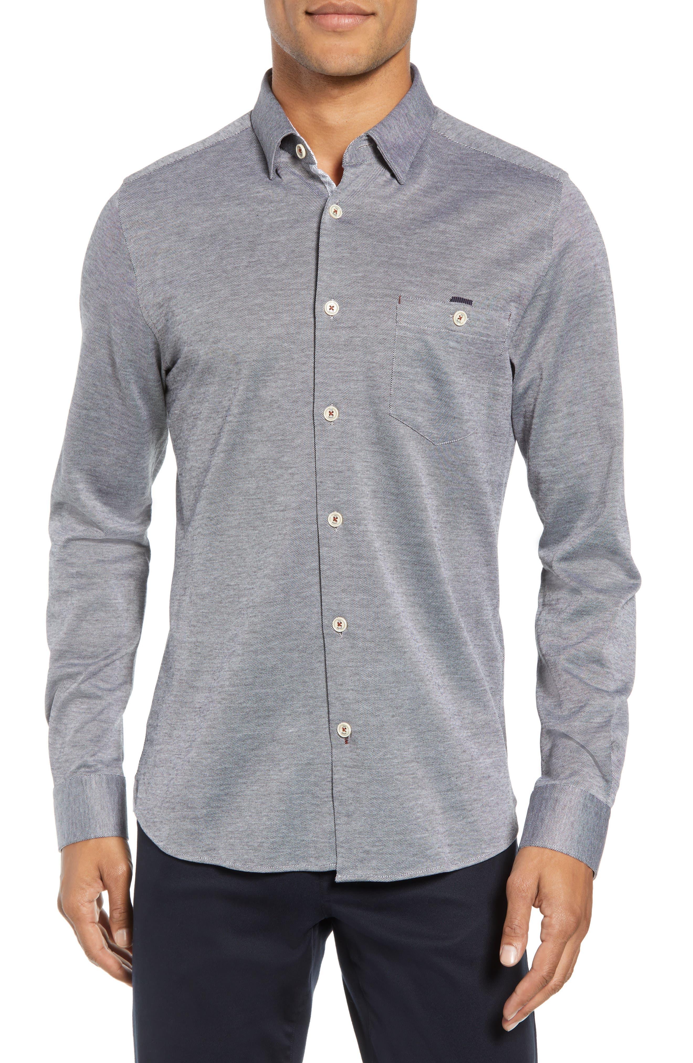 Timothy Slim Fit Cotton Jersey Shirt,                             Main thumbnail 1, color,                             BLACK