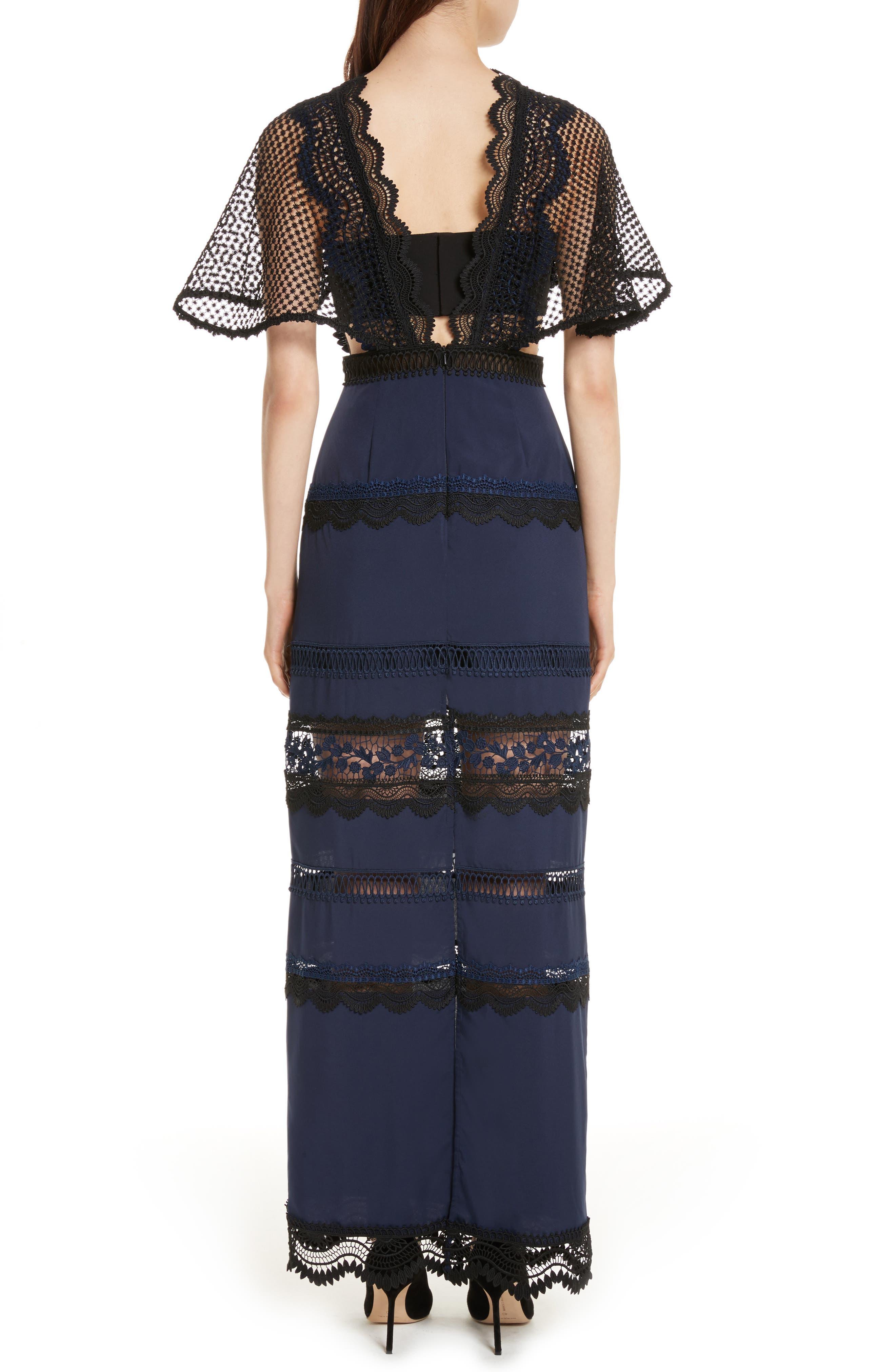 Bellis Lace Cape Maxi Dress,                             Alternate thumbnail 2, color,                             400