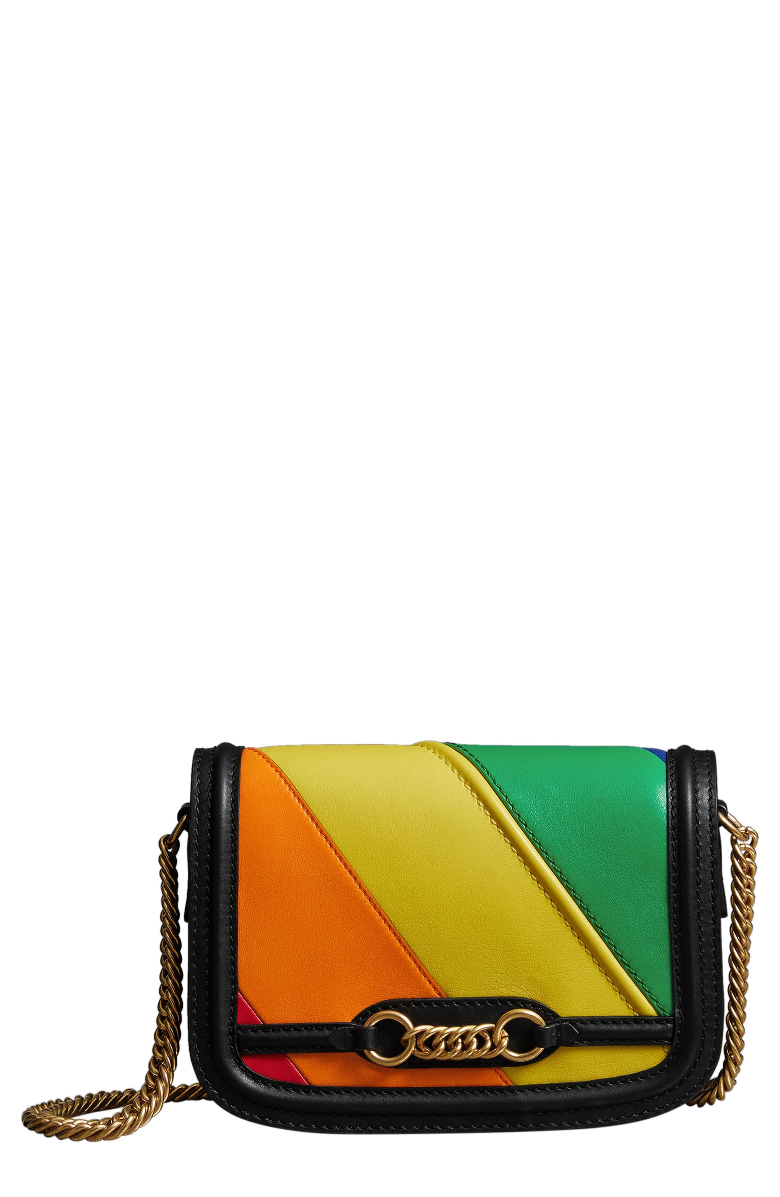 Rainbow Stripe Link Flap Leather Crossbody Bag, Main, color, 001