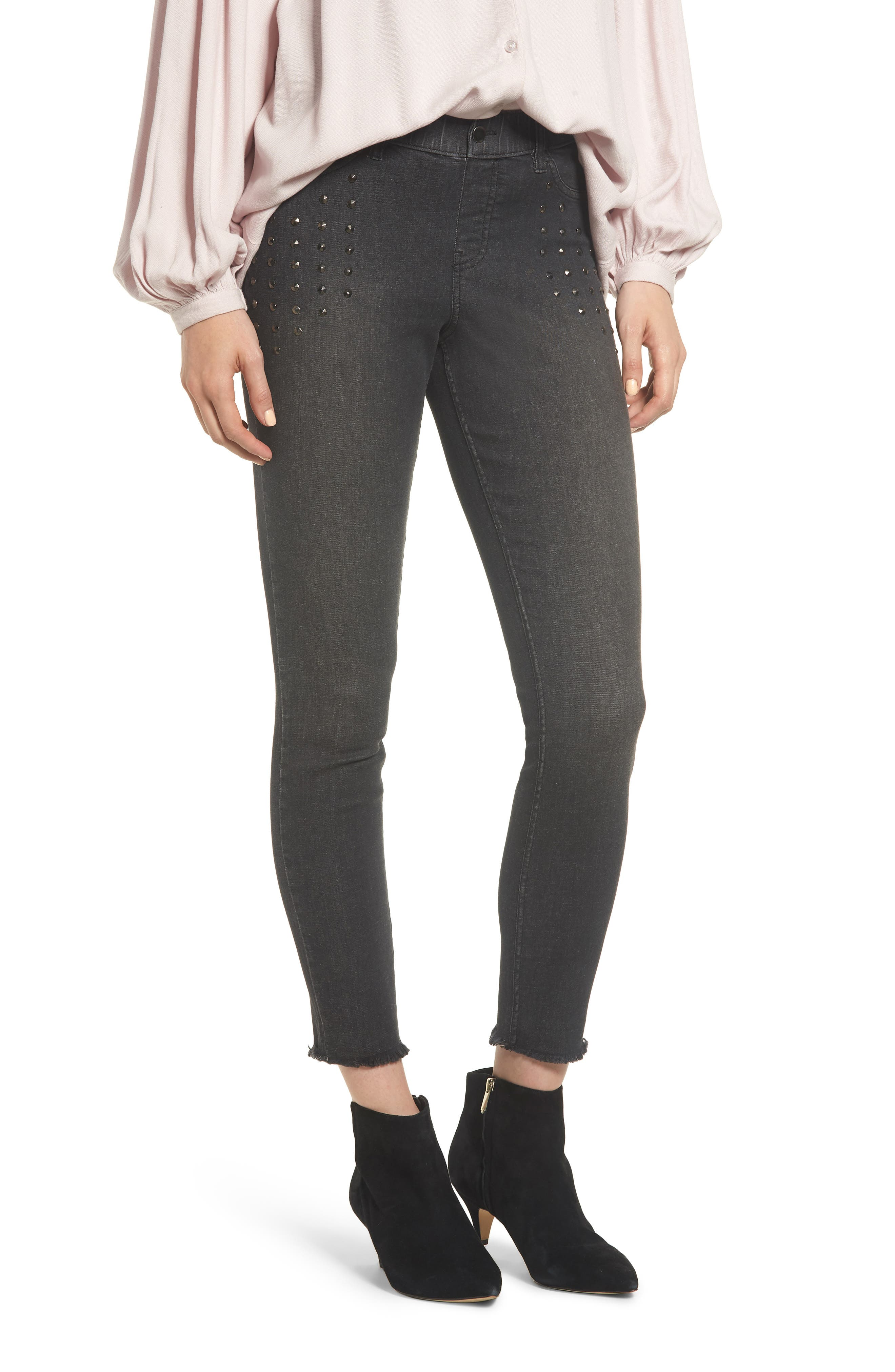 Zeza B By Hue Studded Denim Skimmer Leggings, Black