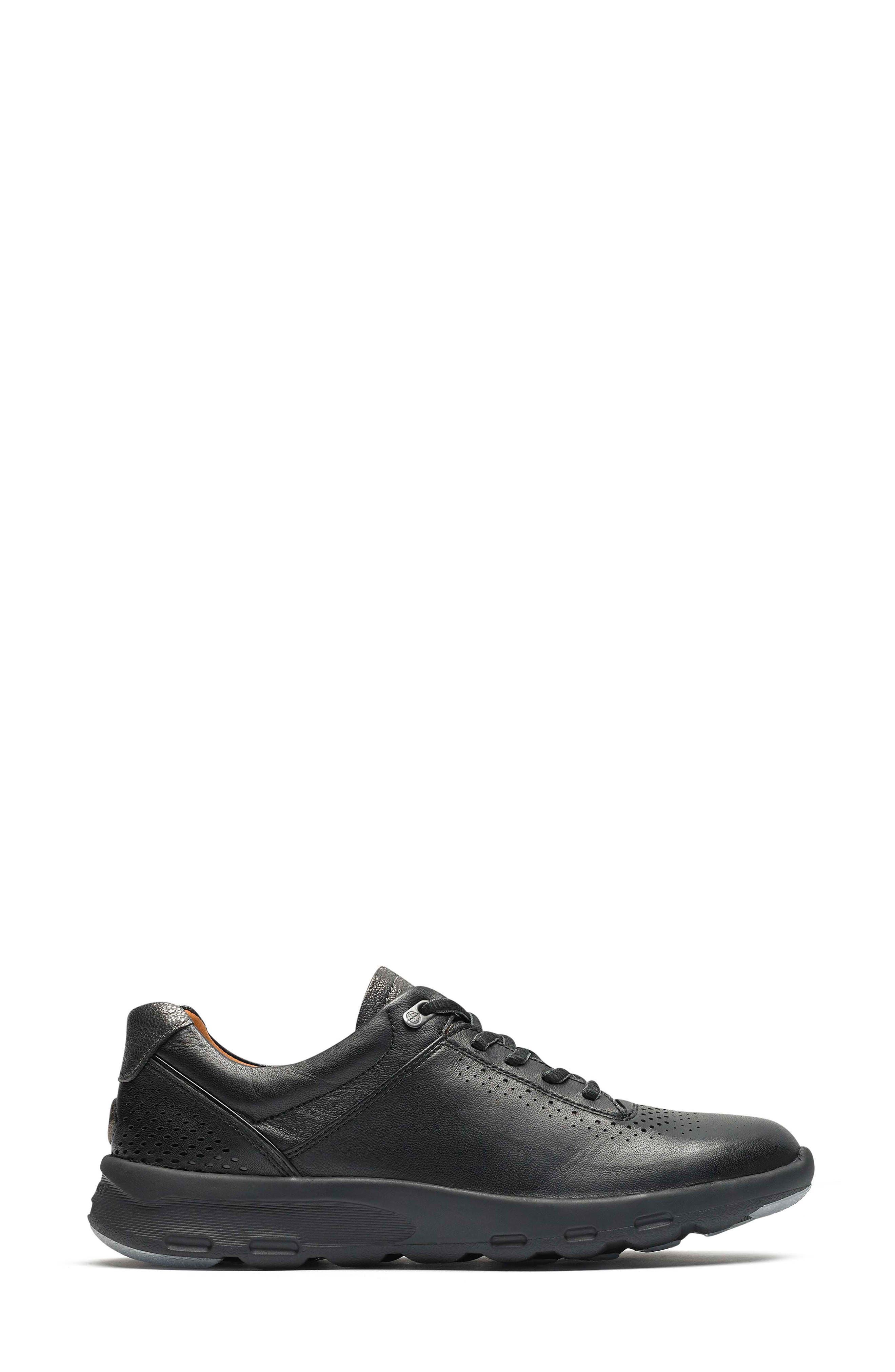 ROCKPORT,                             Let's Walk<sup>®</sup> Ubal Sneaker,                             Alternate thumbnail 3, color,                             BLACK/ BLACK LEATHER