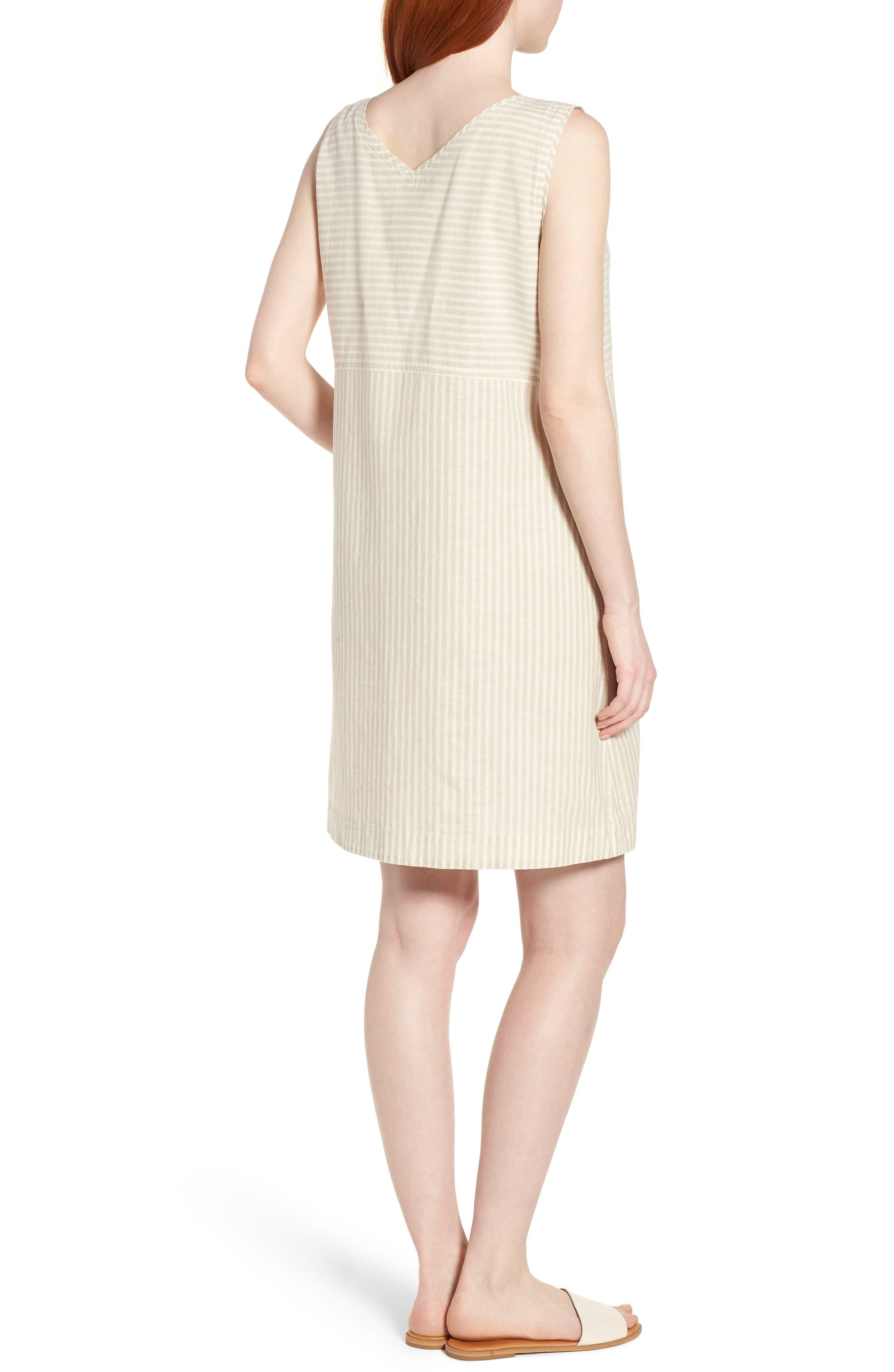 Varied Stripe Hemp & Organic Cotton Shift Dress,                             Alternate thumbnail 2, color,                             257