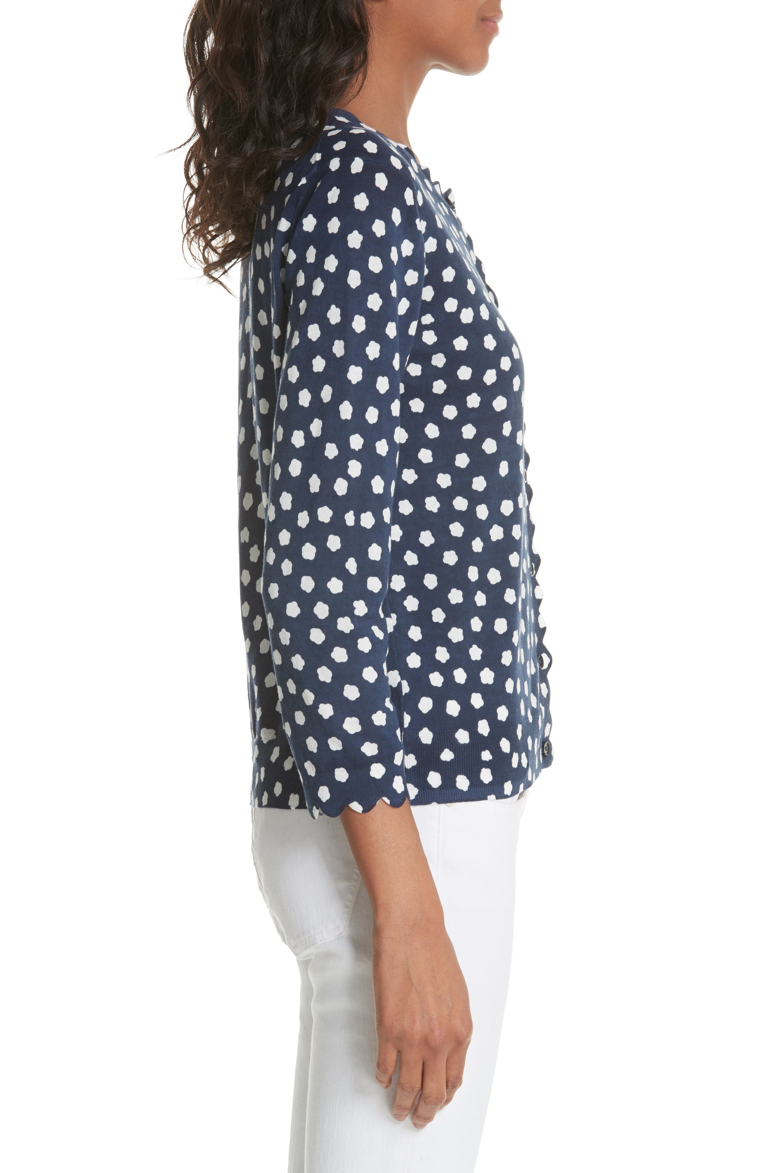 cloud dot scallop cotton cardigan,                             Alternate thumbnail 3, color,                             FRENCH NAVY/ FRESH WHITE