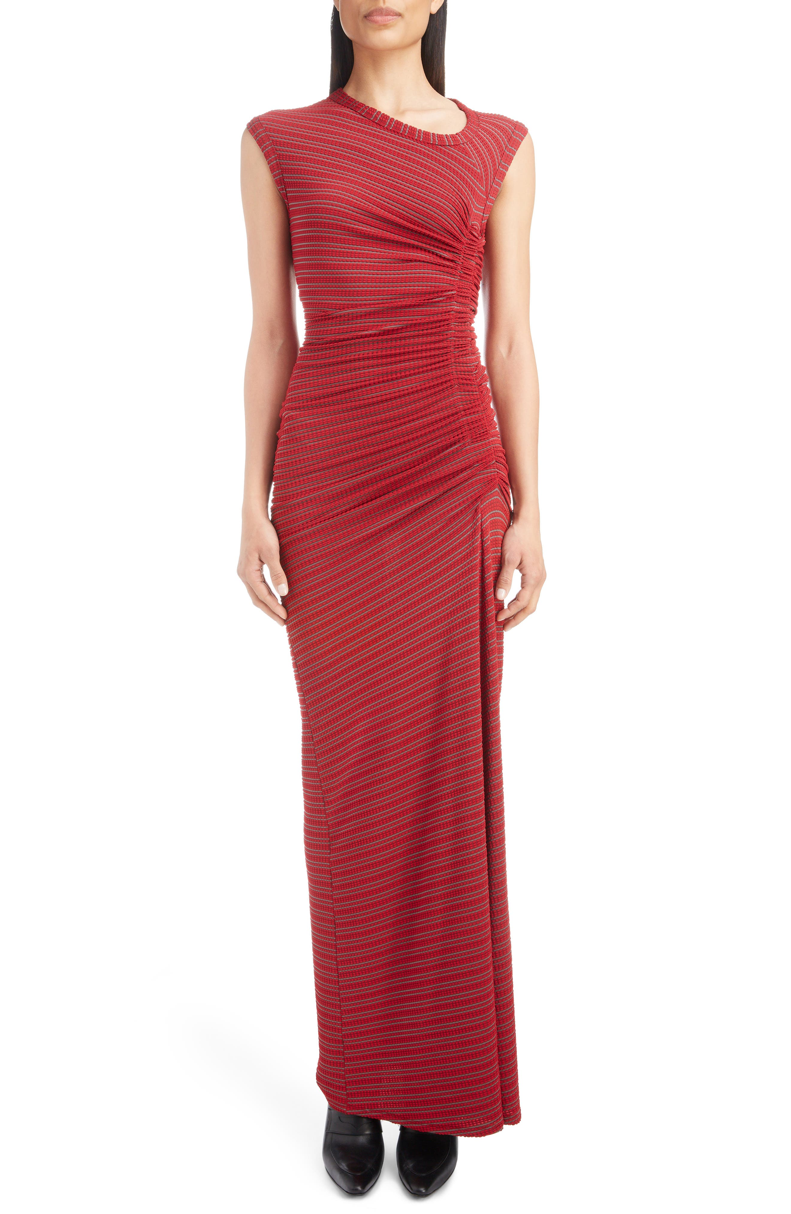ATLEIN Ruched Textured Jersey Dress in Red