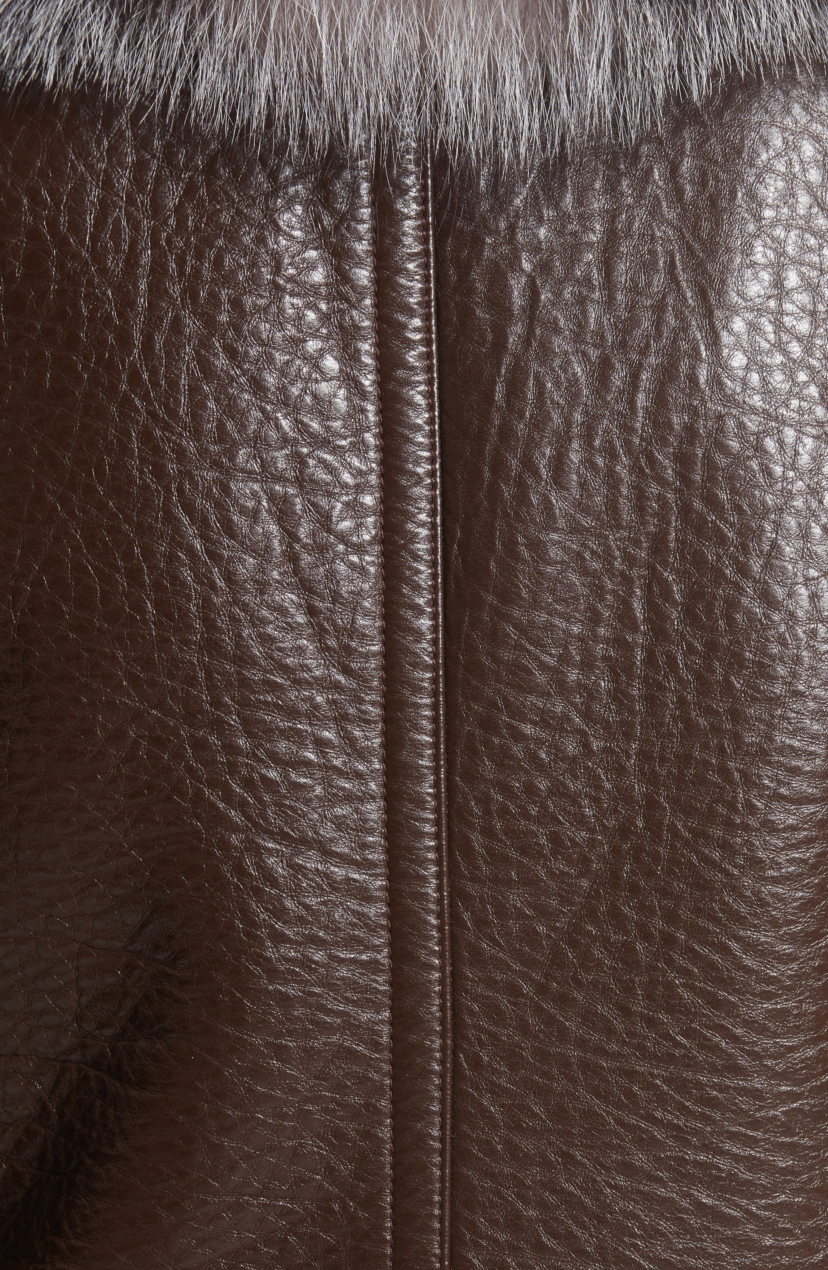 Bonded Moto Leather Jacket with Removable Genuine Fox Fur Collar,                             Alternate thumbnail 6, color,                             219