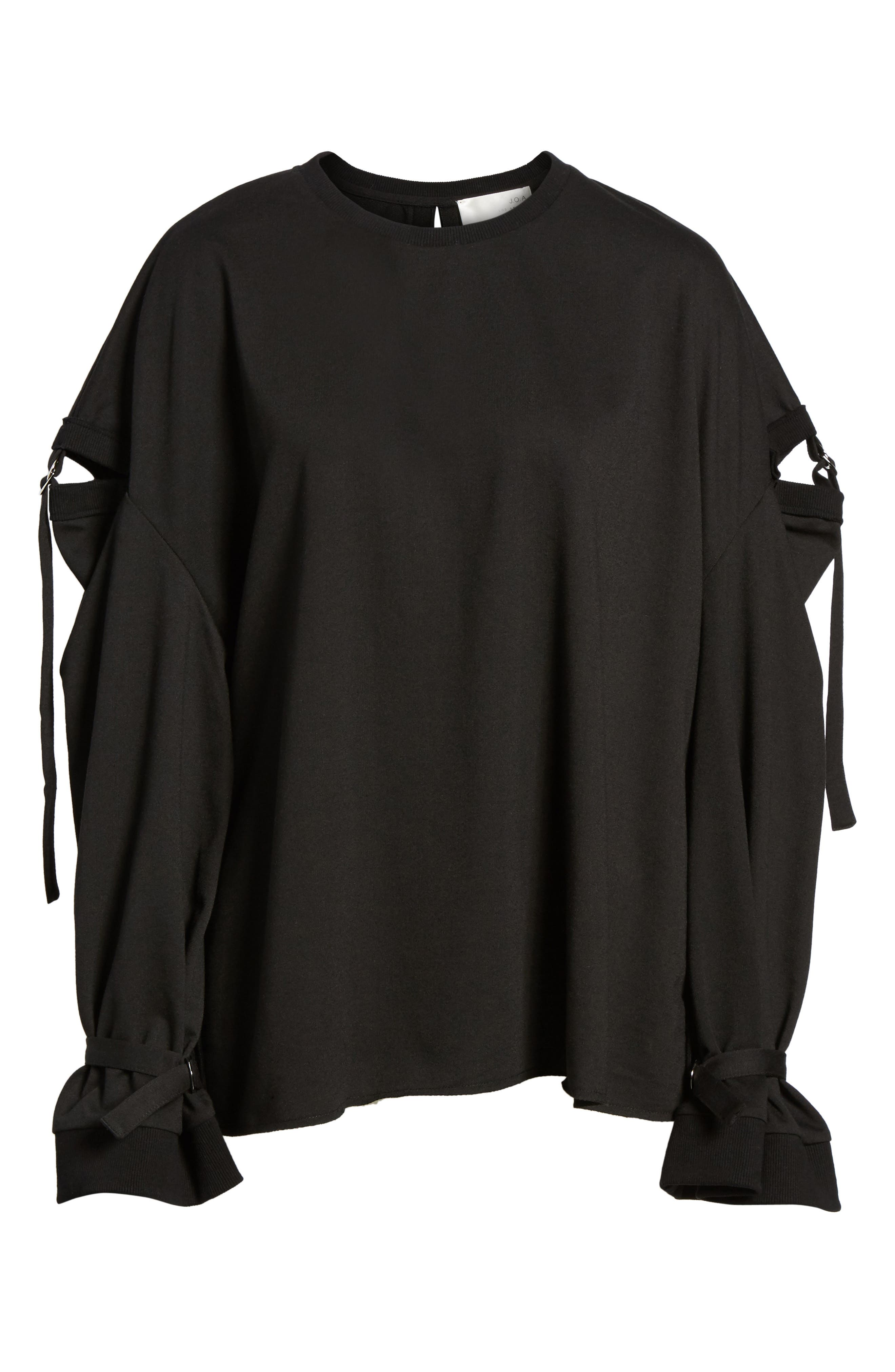 Cutout Detail Sweatshirt,                             Alternate thumbnail 6, color,                             001