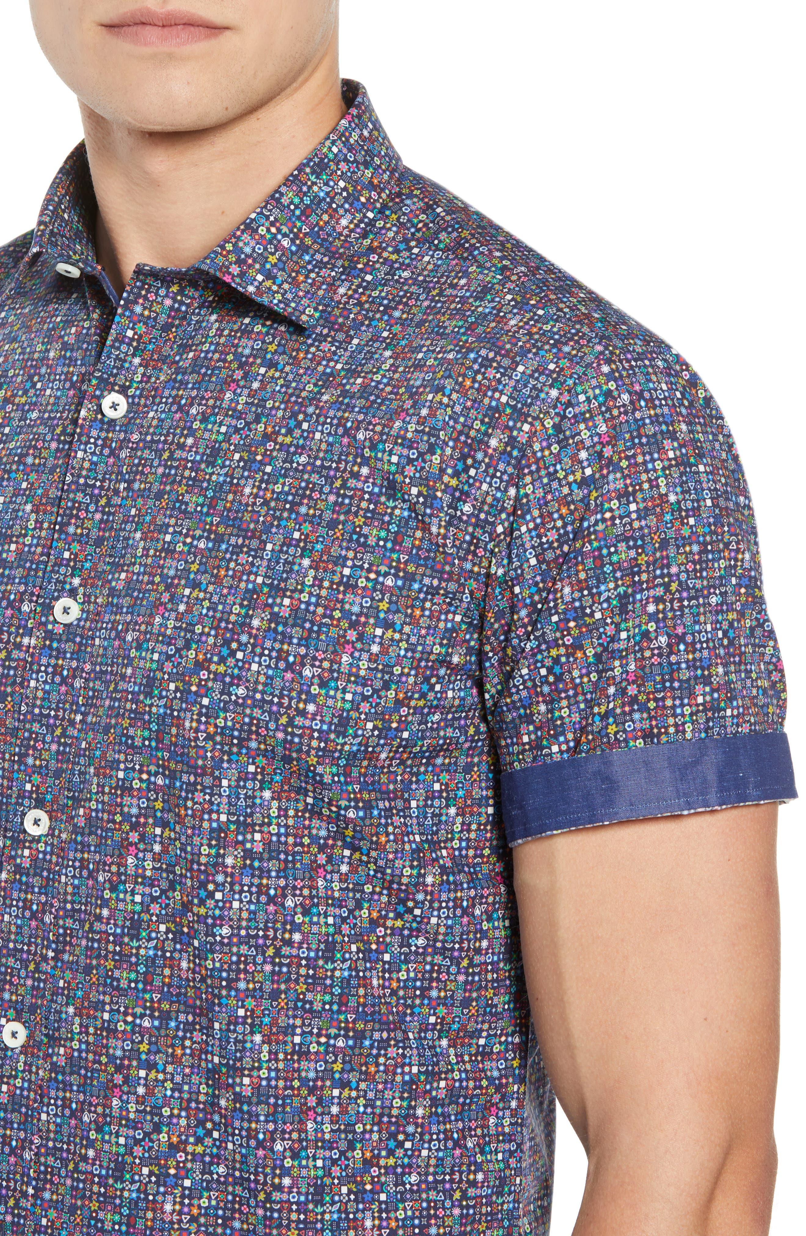Shaped Fit Print Sport Shirt,                             Alternate thumbnail 2, color,                             001