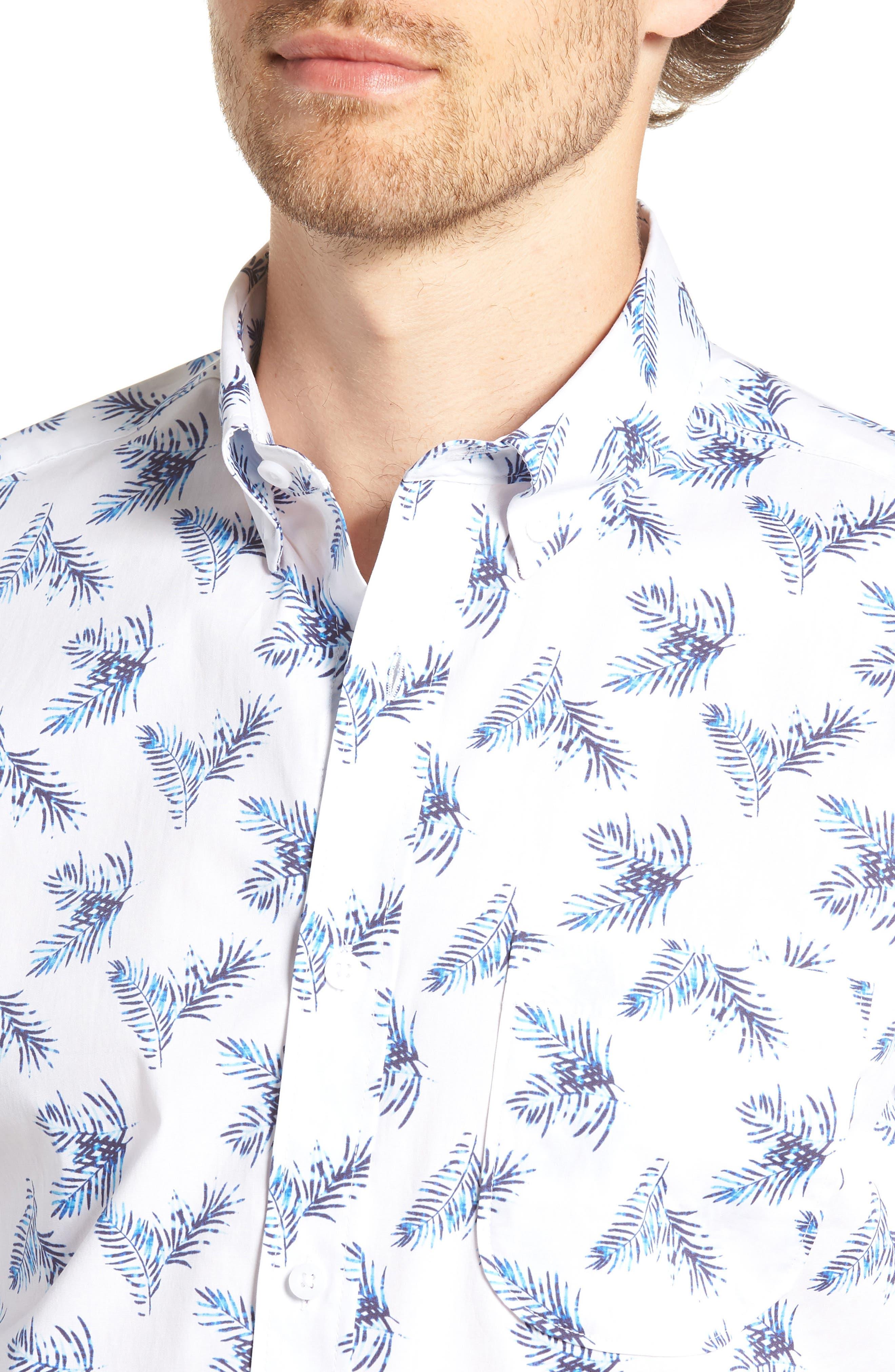 Trim Fit Palm Print Sport Shirt,                             Alternate thumbnail 4, color,                             100
