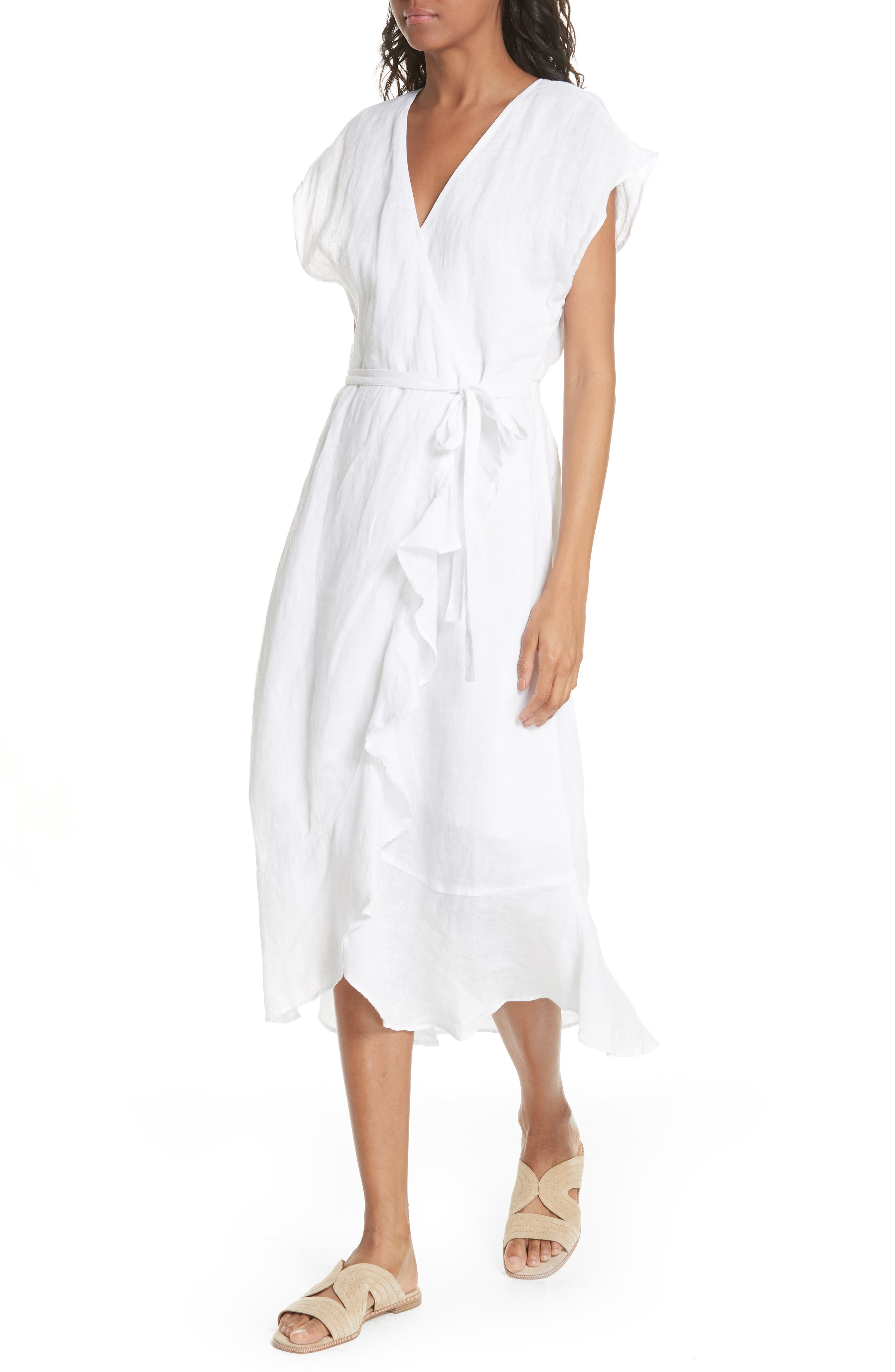 Filma Back Cutout Linen Wrap Dress,                             Alternate thumbnail 4, color,                             PORCELAIN