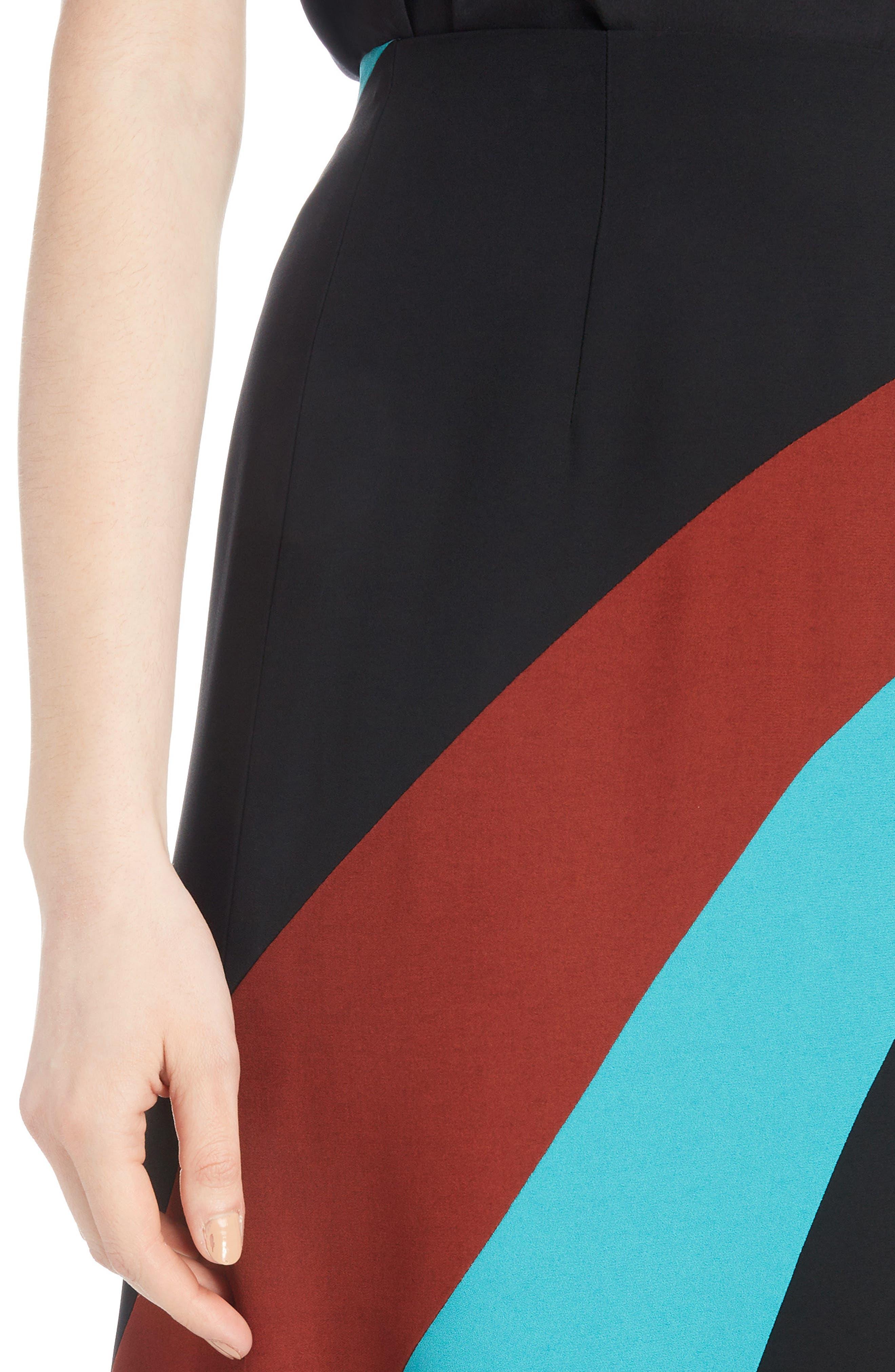 Curved Inset Midi Skirt,                             Alternate thumbnail 4, color,                             BLACK
