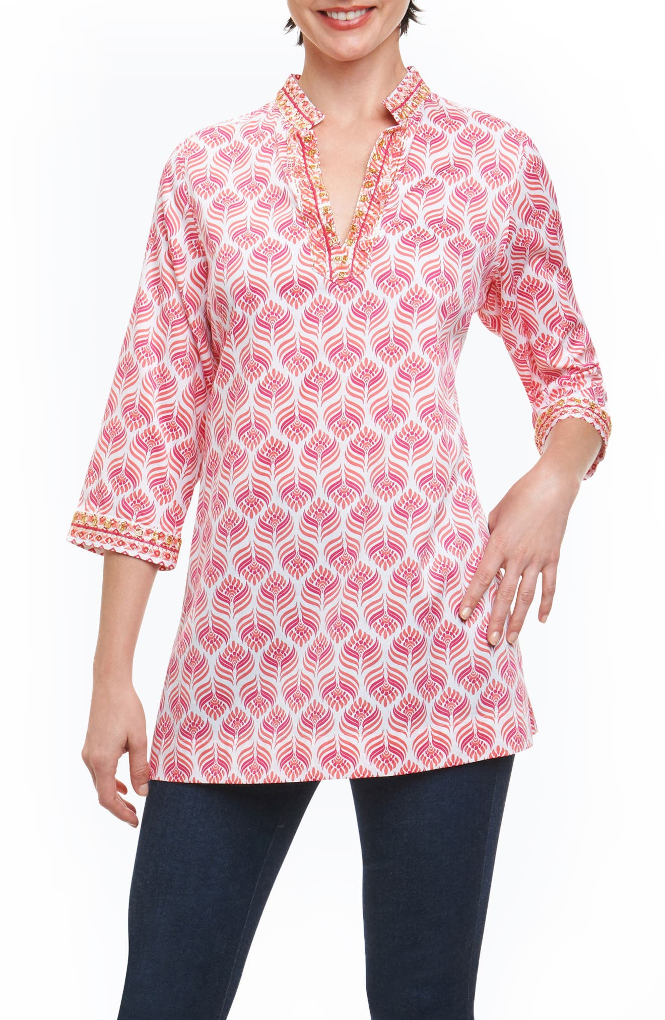 Angelica Embellished Block Print Tunic,                             Main thumbnail 1, color,