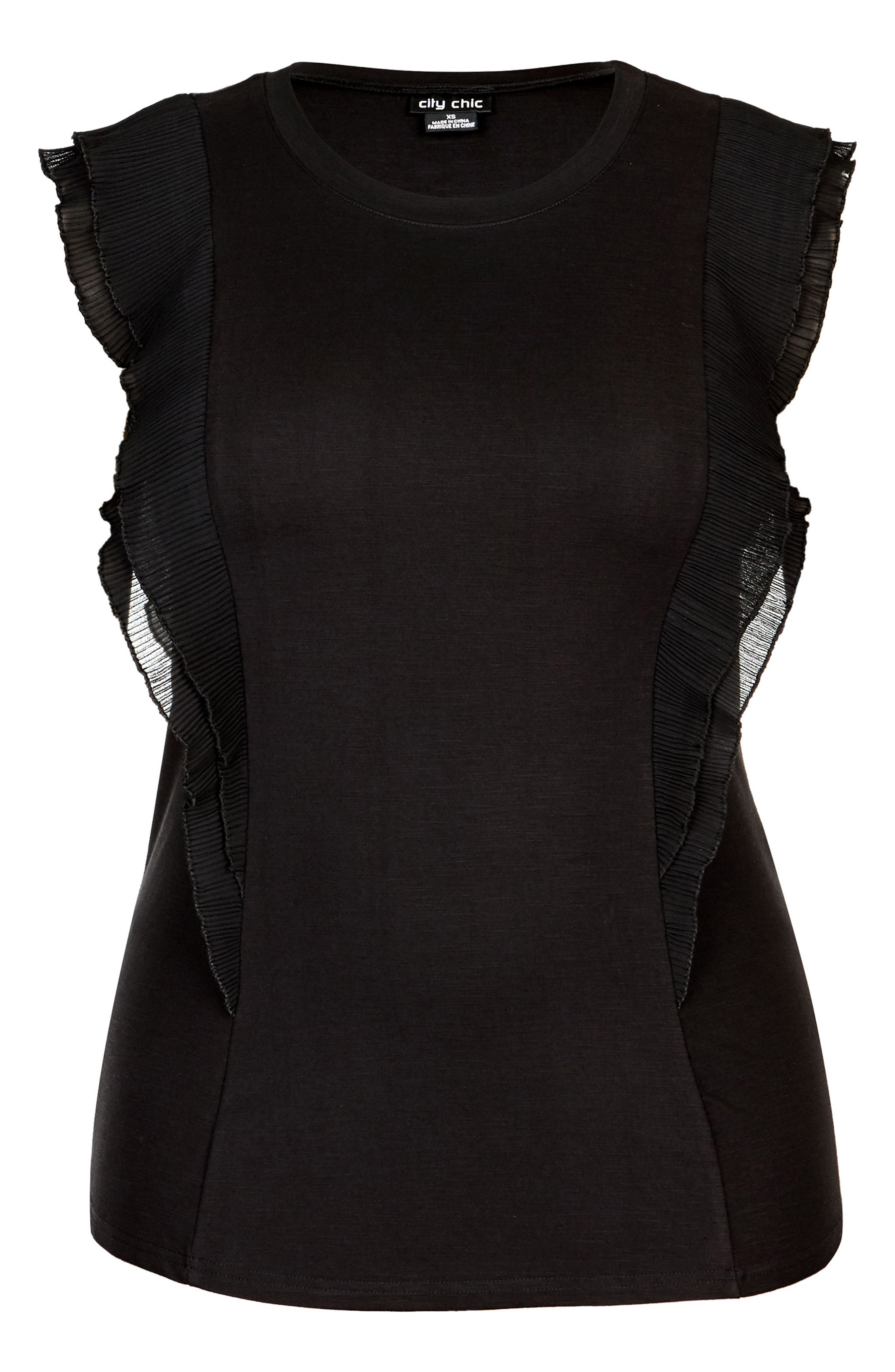 Chic Chic Aflutter Top,                             Alternate thumbnail 3, color,                             BLACK