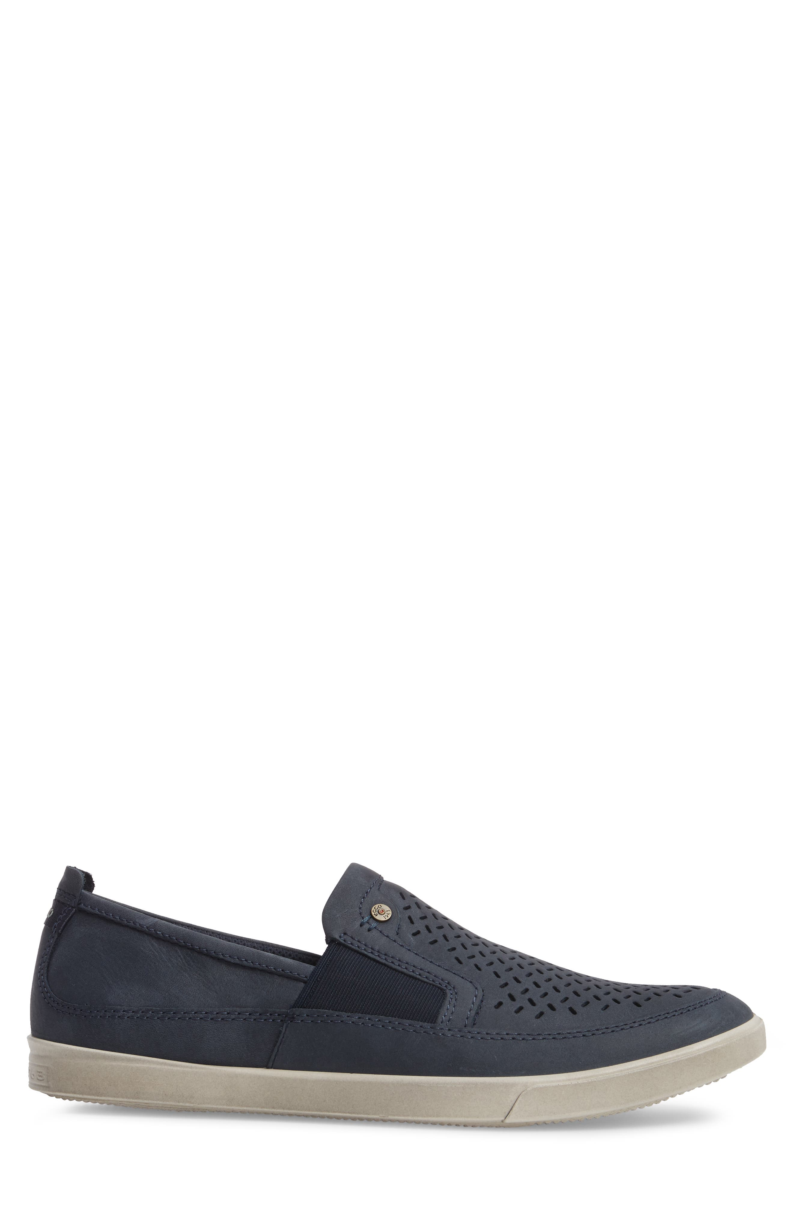 'Collin' Perforated Slip On Sneaker,                             Alternate thumbnail 3, color,                             MARINE LEATHER