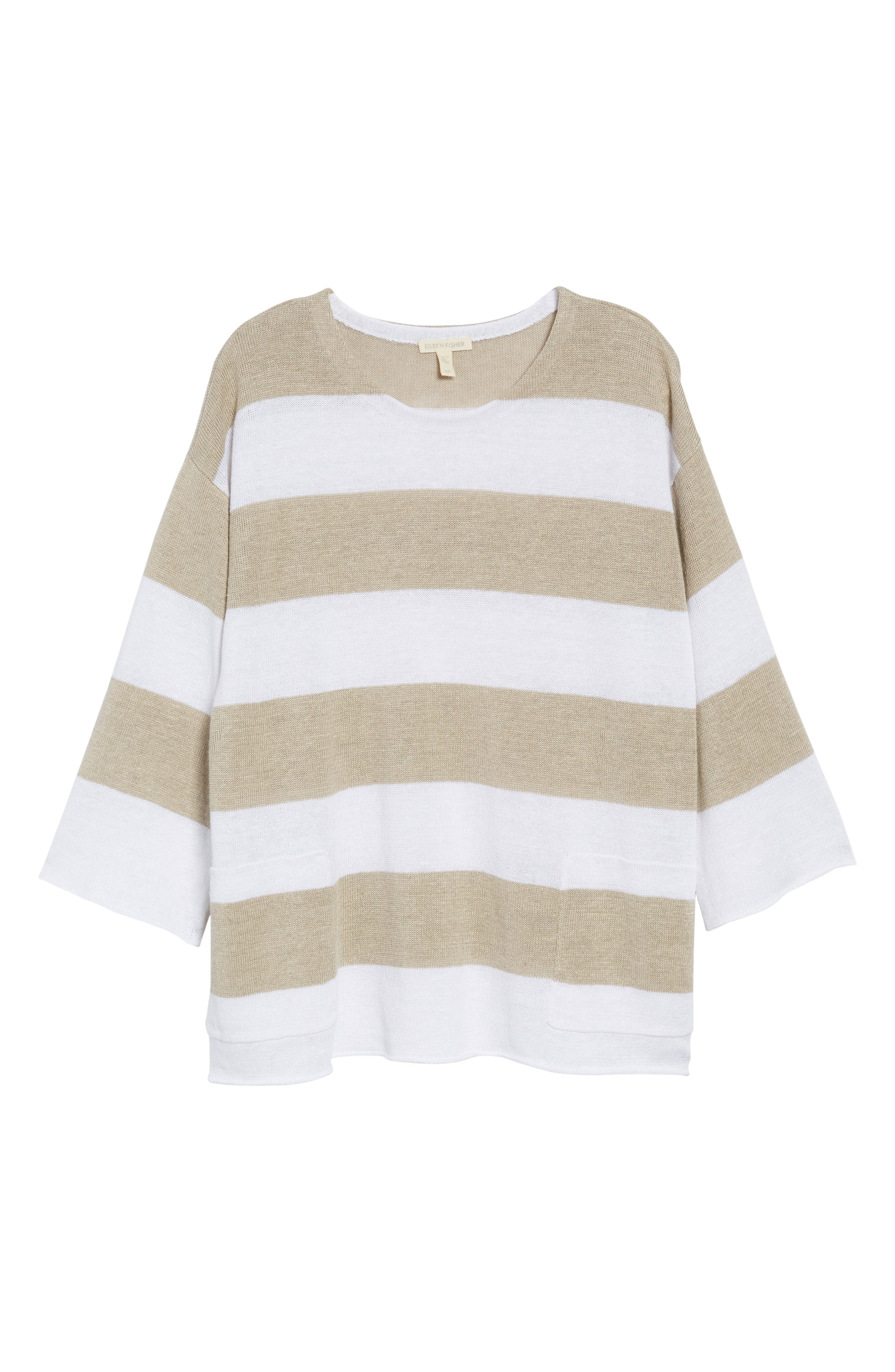 Stripe Organic Linen Knit A-Line Top,                             Alternate thumbnail 12, color,