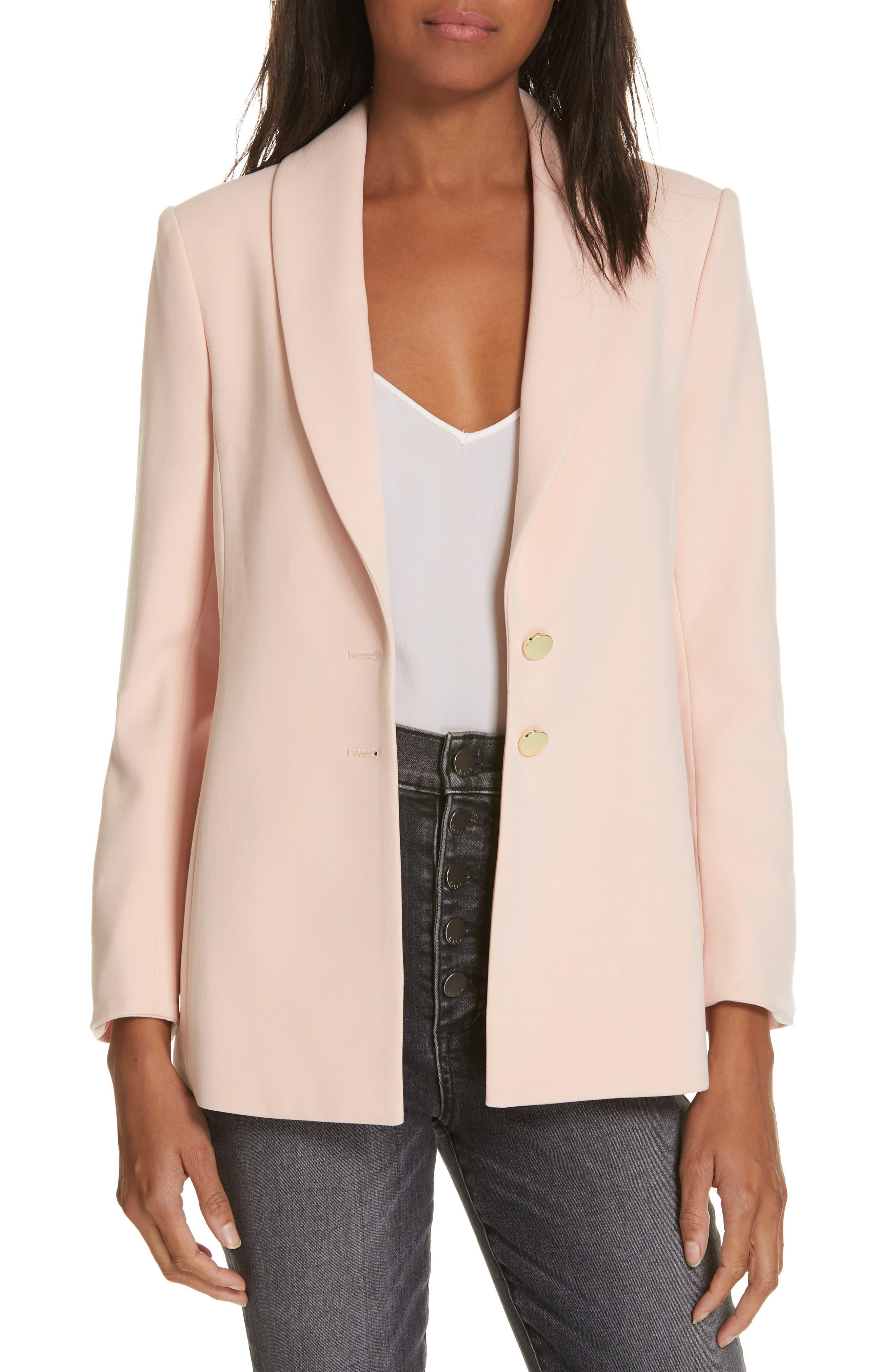Tana Shawl Collar Blazer, Main, color, BLUSH